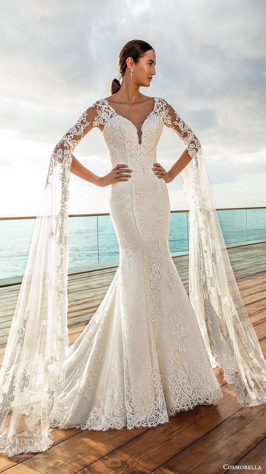 cosmobella 2020 bridal illusion half sleeves detached long split sleeves sweetheart neckline fully embellished lace fit flare trumpet mermaid wedding dress (6) romantic vintage chapel train mv