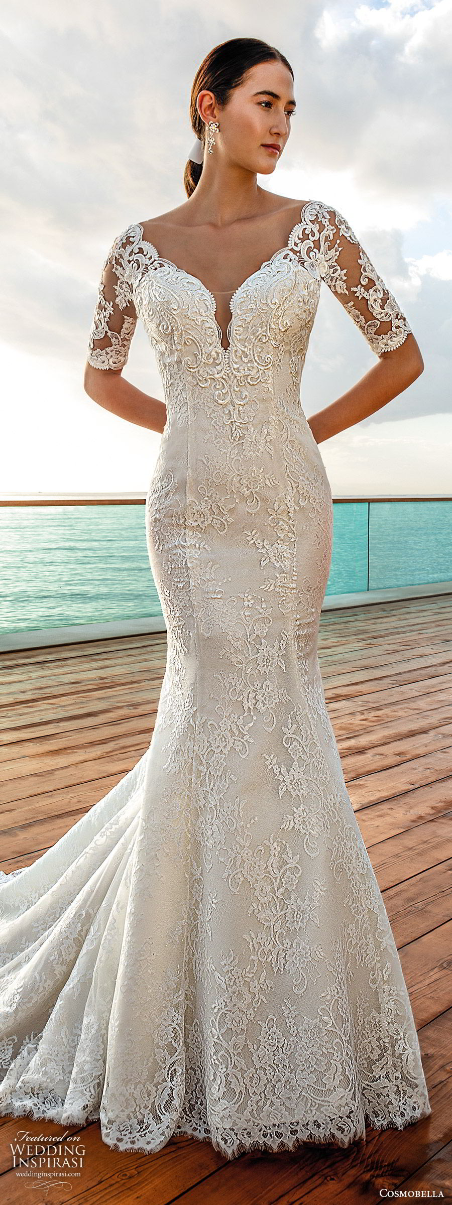 cosmobella 2020 bridal illusion half sleeves sweetheart neckline fully embellished lace fit flare trumpet mermaid wedding dress (6) romantic vintage chapel train mv