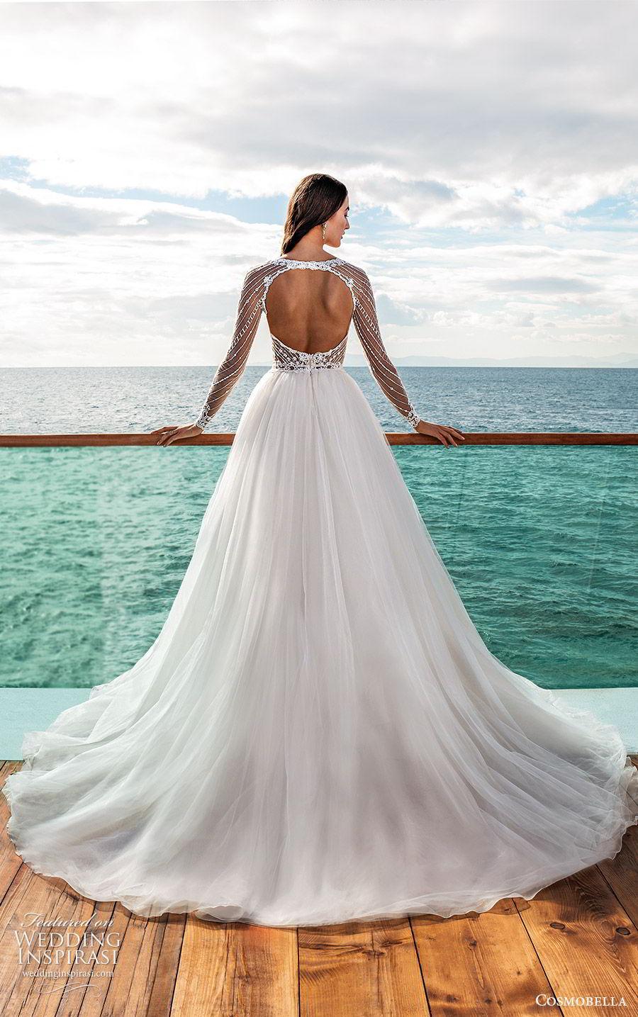 cosmobella 2020 bridal illusion long sleeves jewel neck sheer embellished bodice a line ball gown wedding dress (20) romantic princess chapel train cutout back bv