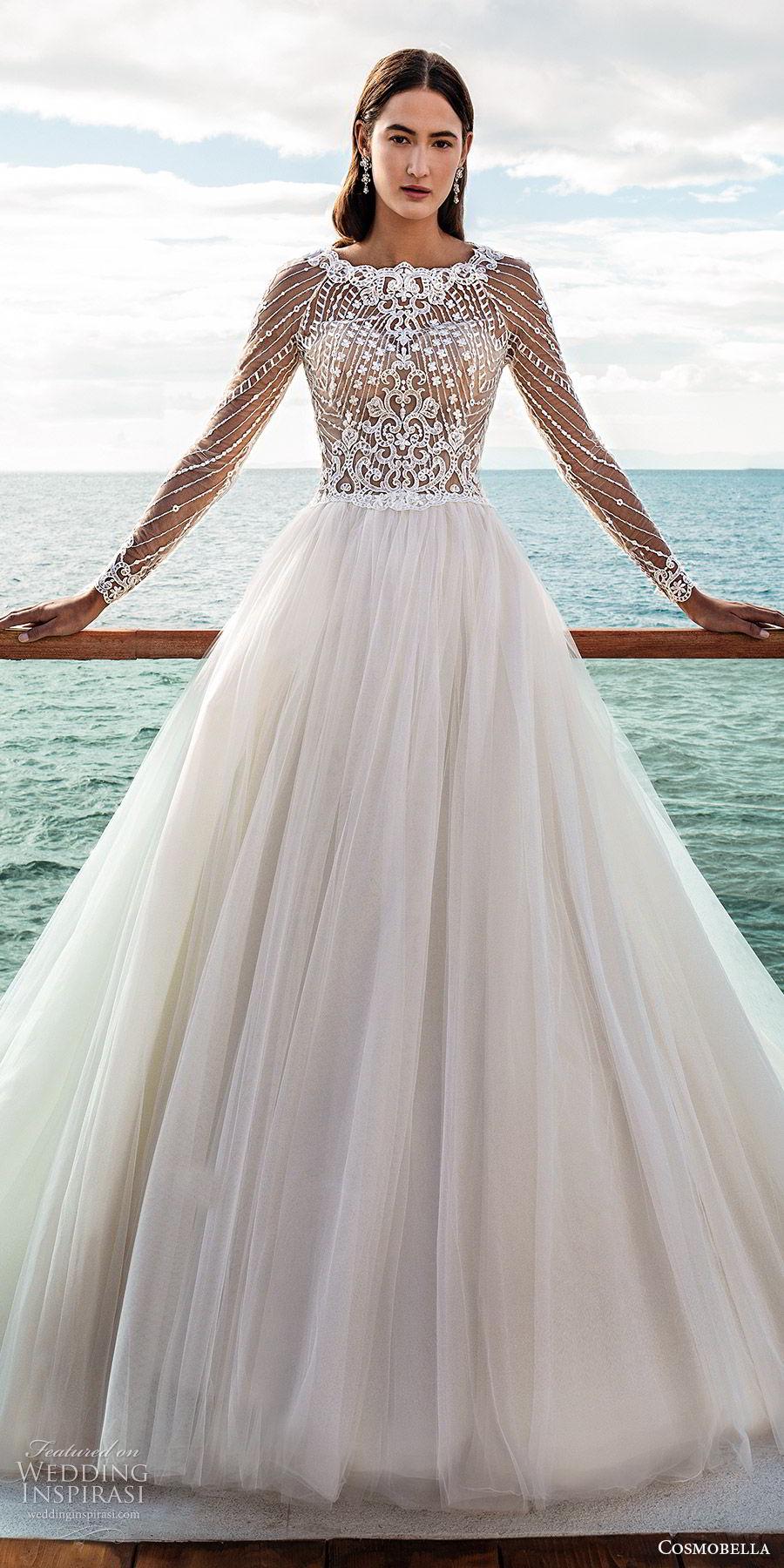 cosmobella 2020 bridal illusion long sleeves jewel neck sheer embellished bodice a line ball gown wedding dress (20) romantic princess chapel train cutout back mv