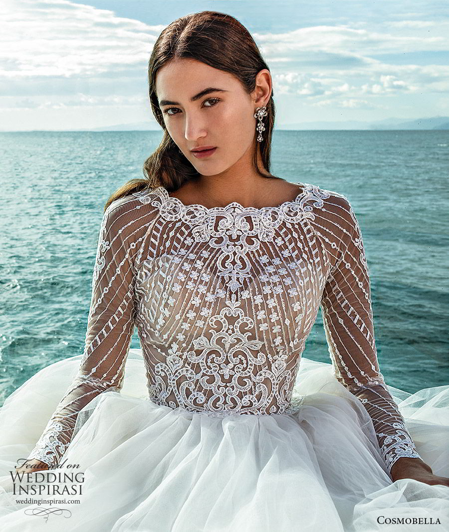 cosmobella 2020 bridal illusion long sleeves jewel neck sheer embellished bodice a line ball gown wedding dress (20) romantic princess chapel train cutout back zv