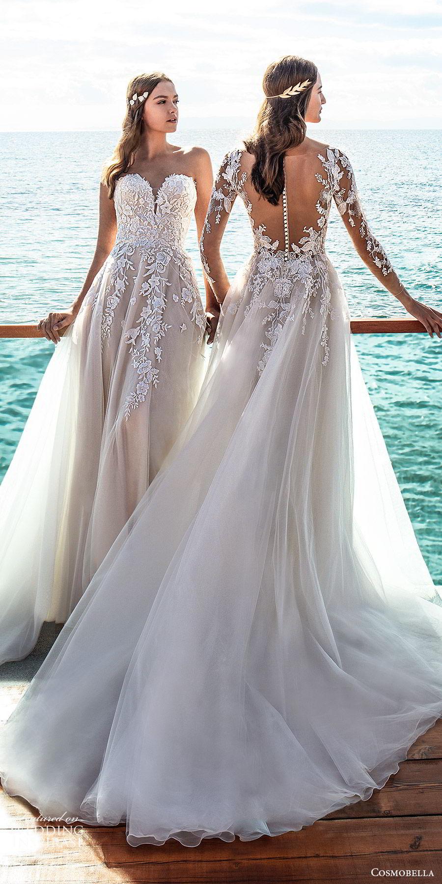 cosmobella 2020 bridal illusion long sleeves sheer bateau neck sweetheart embellished lace bodice a line ball gown wedding dress (2) elegant romantic chapel train mv