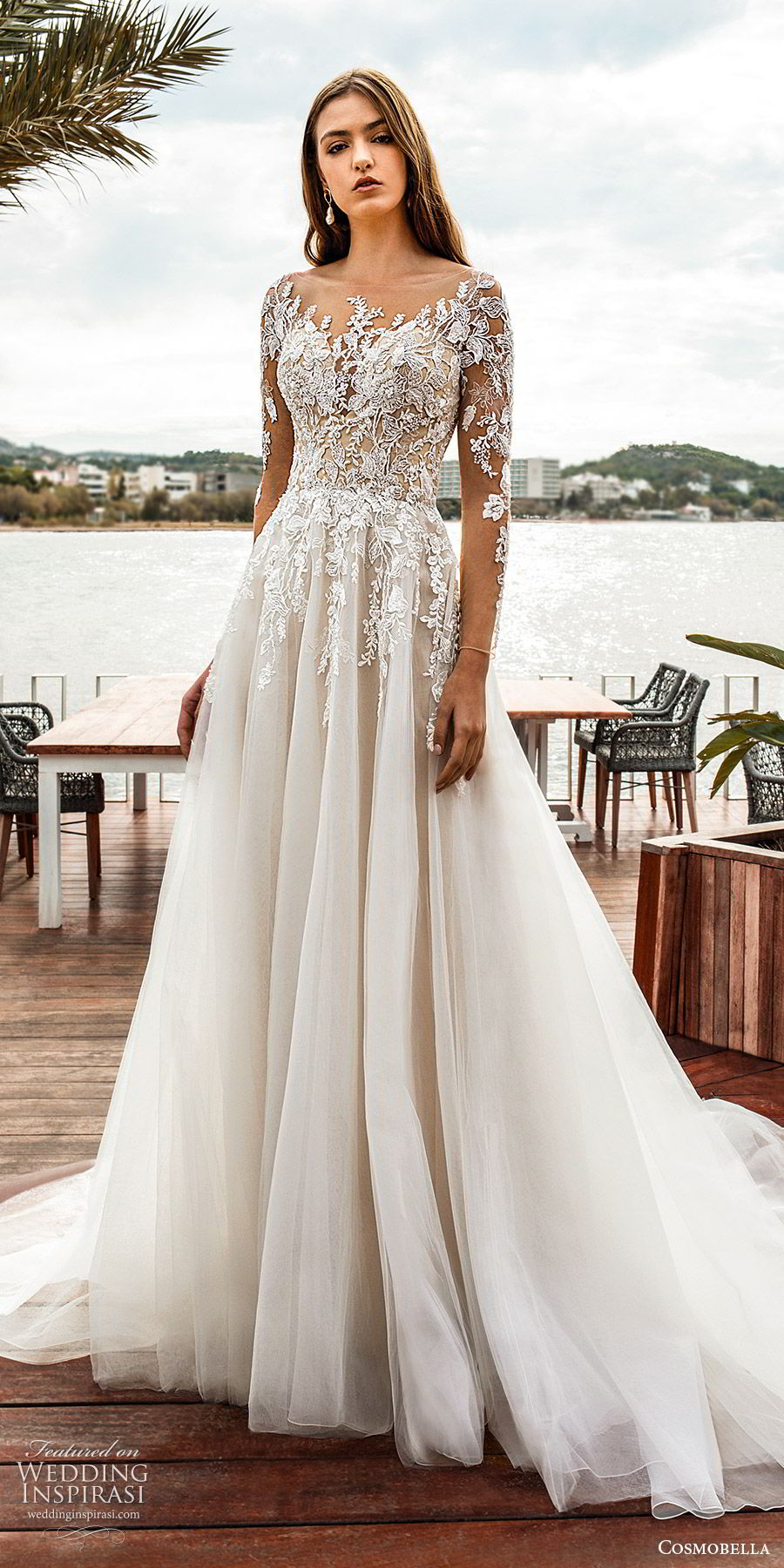 cosmobella 2020 bridal illusion long sleeves sheer bateau neck sweetheart embellished lace bodice a line ball gown wedding dress (2) elegant romantic chapel train mv