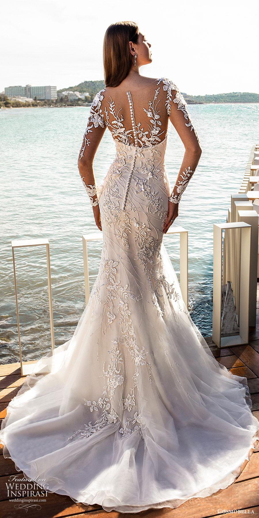 cosmobella 2020 bridal illusion long sleeves sheer bateau neck sweetheart fully embellished fit flare mermaid wedding dress (12) glitzy glam chapel train bv