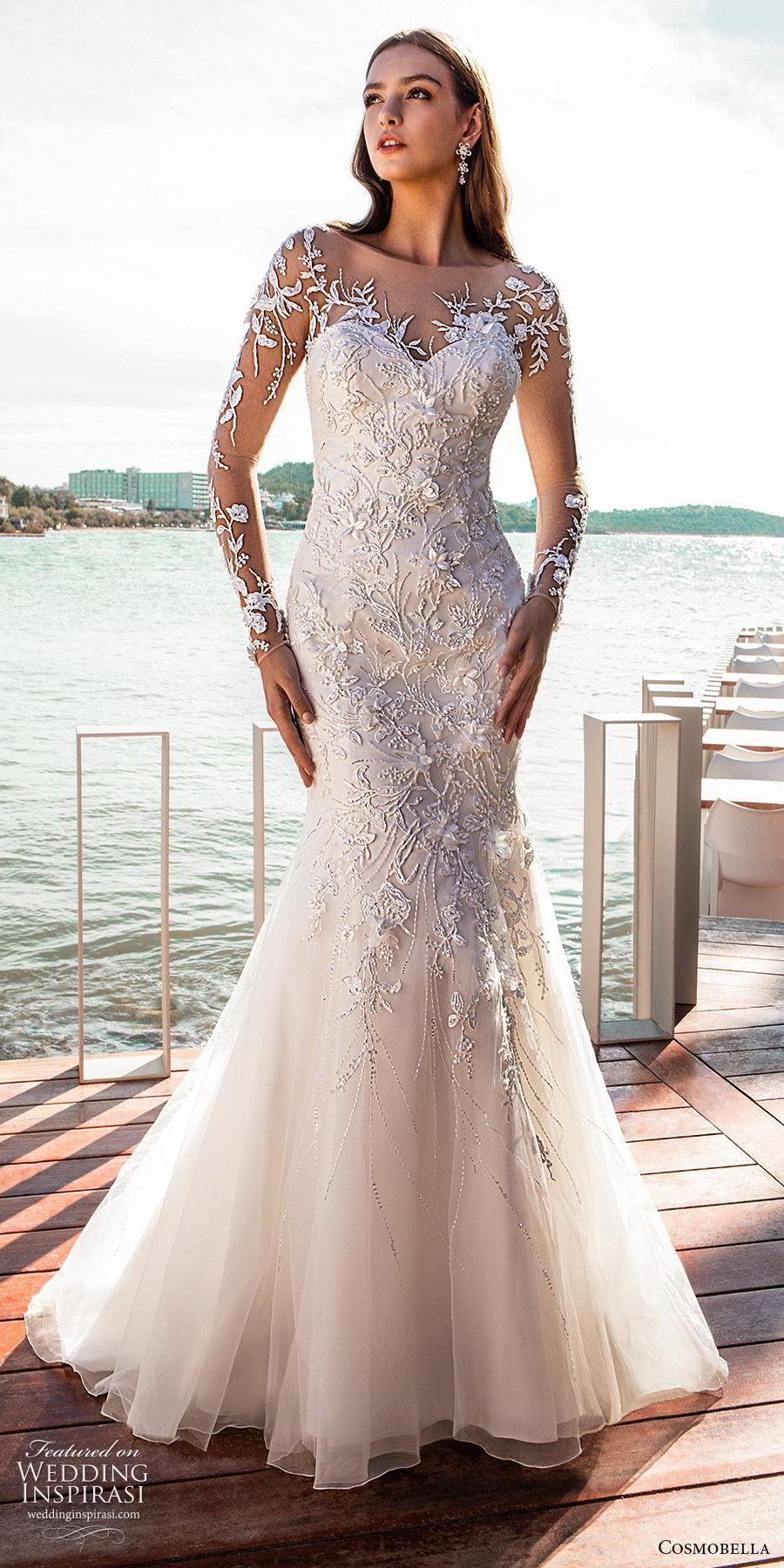 cosmobella 2020 bridal illusion long sleeves sheer bateau neck sweetheart fully embellished fit flare mermaid wedding dress (12) glitzy glam chapel train mv