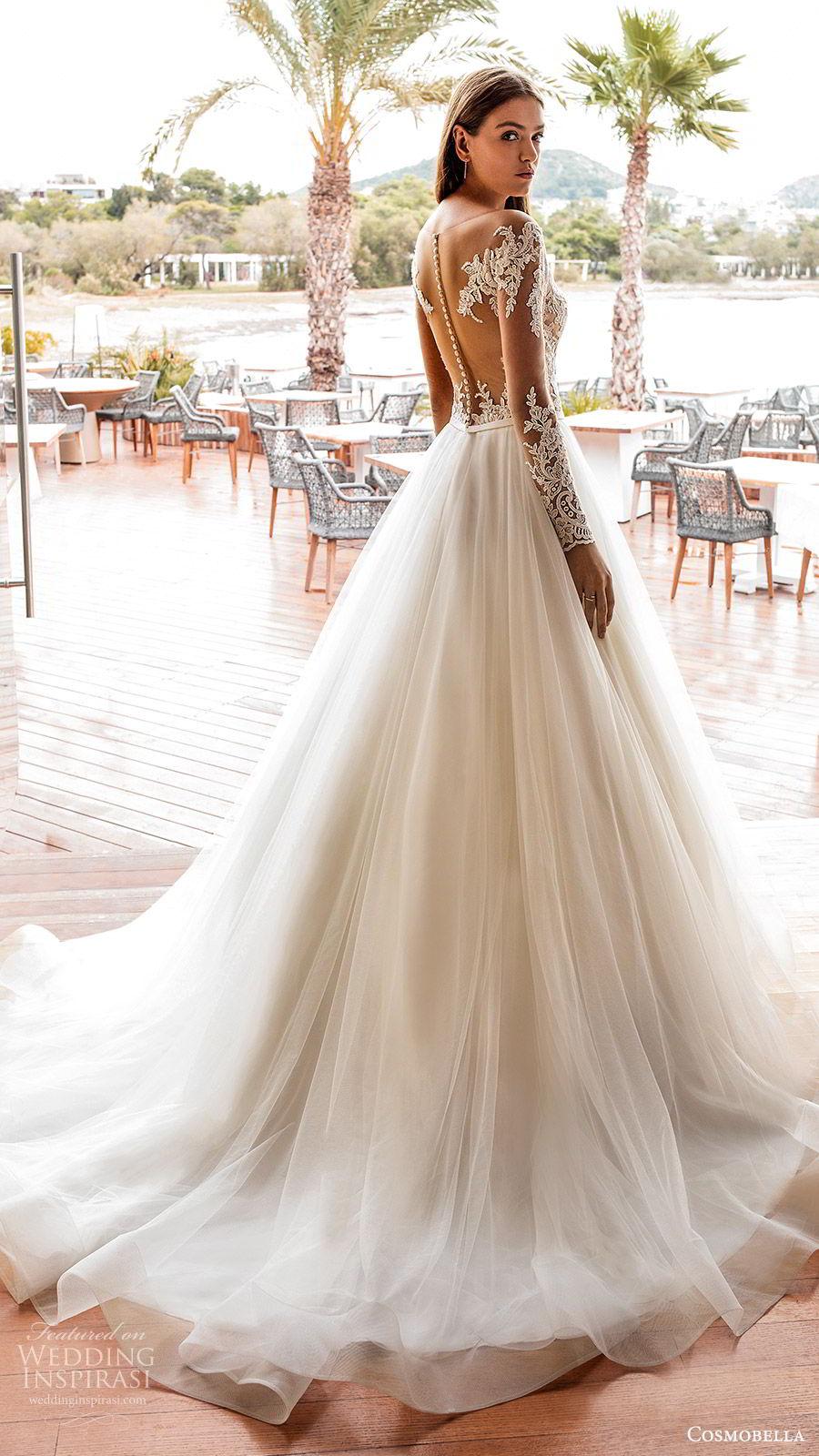 cosmobella 2020 bridal illusion long sleeves sheer bateau sweetheart lace bodice a line ball gown wedding dress (1) ivory romantic princess chapel train bv