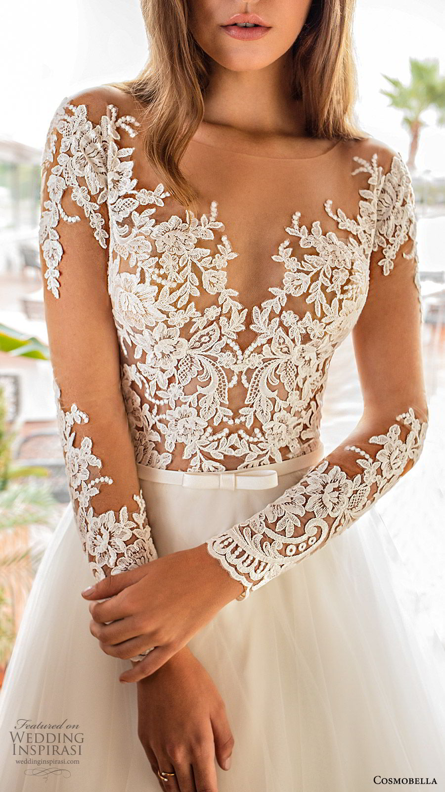 cosmobella 2020 bridal illusion long sleeves sheer bateau sweetheart lace bodice a line ball gown wedding dress (1) ivory romantic princess chapel train zv
