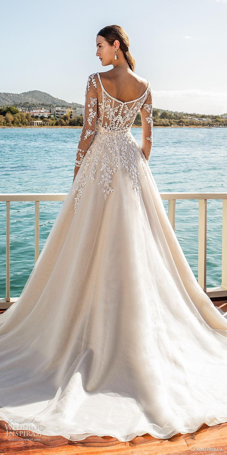cosmobella 2020 bridal illusion long sleeves sweetheart embellished bodice a line ball gown wedding dress (21) elegant romantic princes chapel train bv