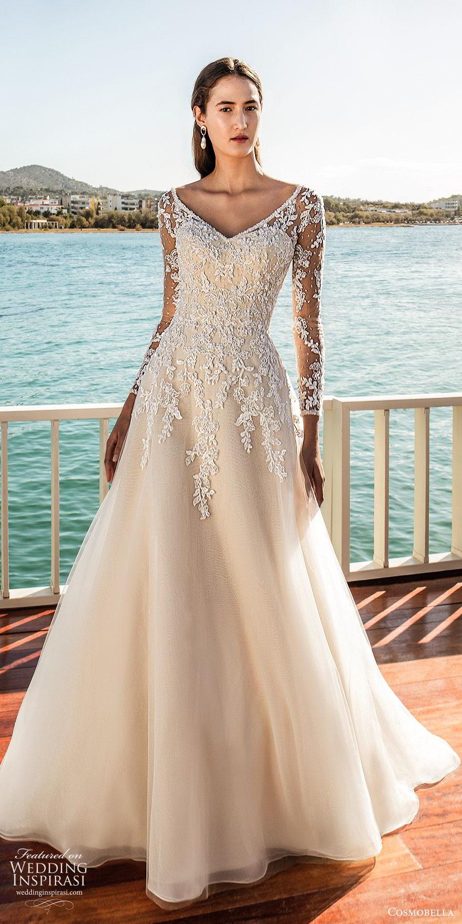 cosmobella 2020 bridal illusion long sleeves sweetheart embellished bodice a line ball gown wedding dress (21) elegant romantic princes chapel train mv