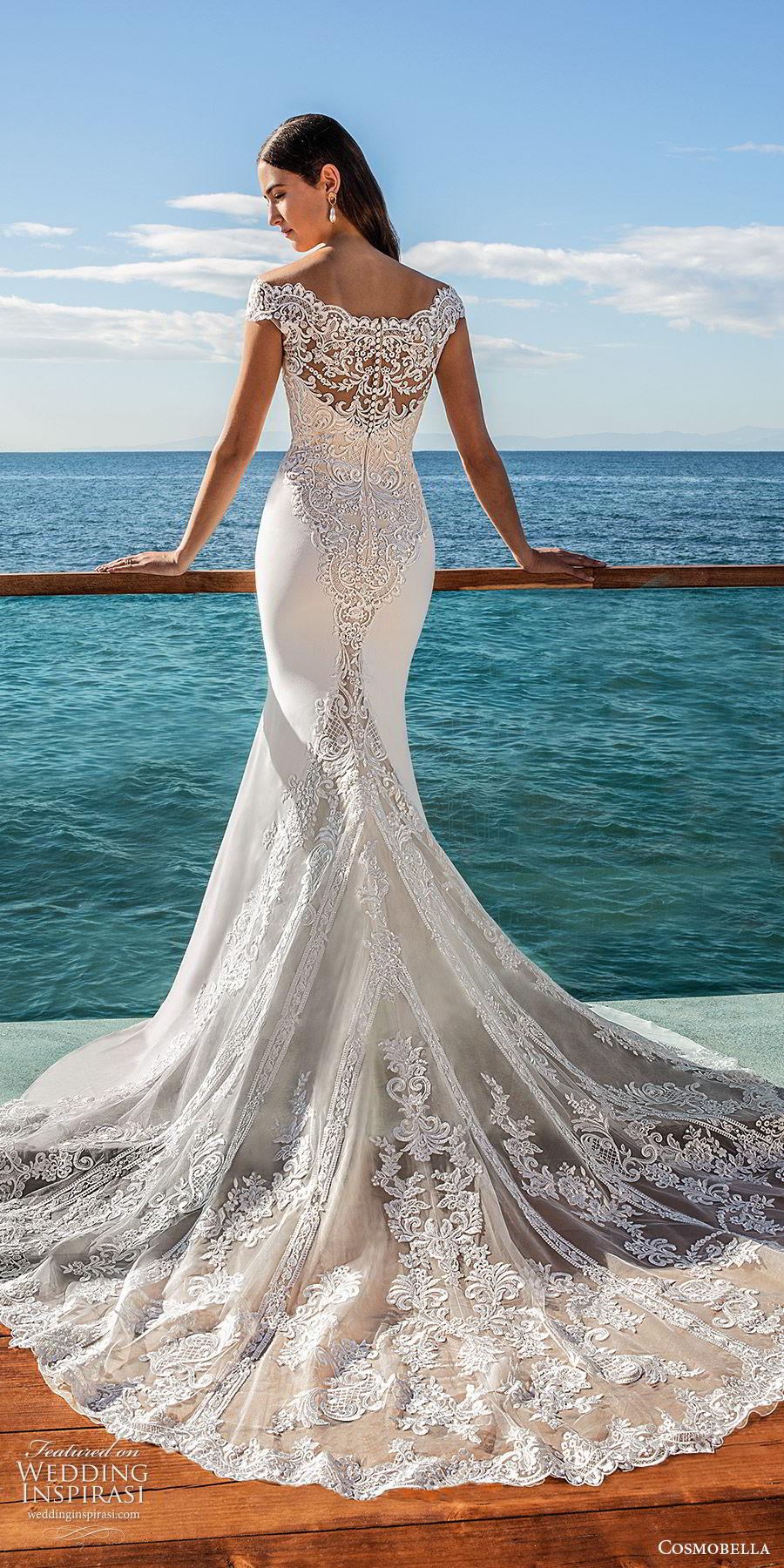 cosmobella 2020 bridal off shoulder sweetheart neckline lace bodice sheath wedding dress (13) lace sheer back chapel train elegant romantic bv
