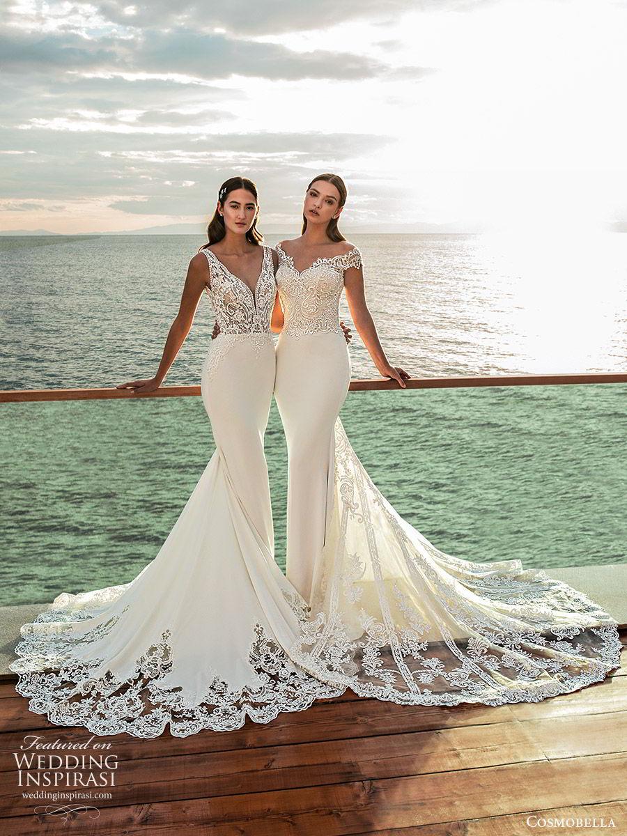 cosmobella 2020 bridal off shoulder sweetheart neckline lace bodice sheath wedding dress (13) lace sheer back chapel train elegant romantic fv