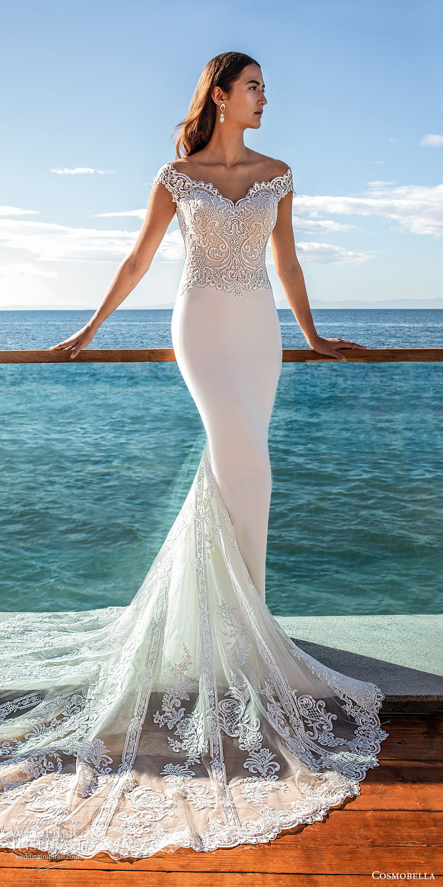 cosmobella 2020 bridal off shoulder sweetheart neckline lace bodice sheath wedding dress (13) lace sheer back chapel train elegant romantic mv
