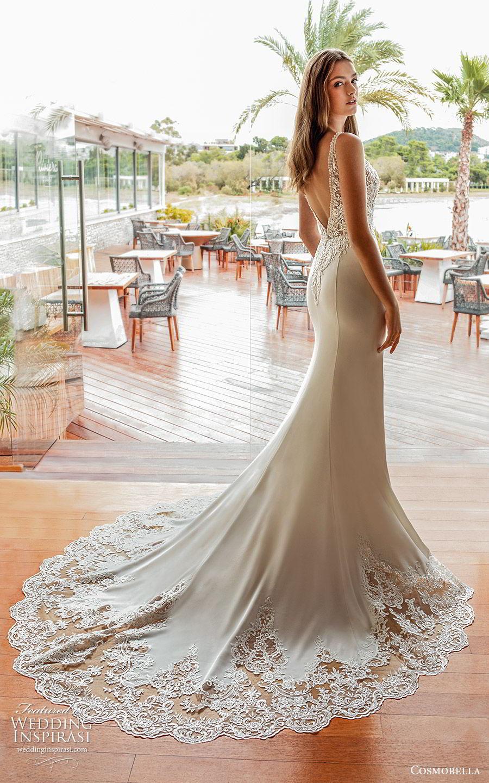 cosmobella 2020 bridal sleeveless beaded thick straps embellished bodice sheath wedding dress (16) elegant glamorous low back chapel train bv