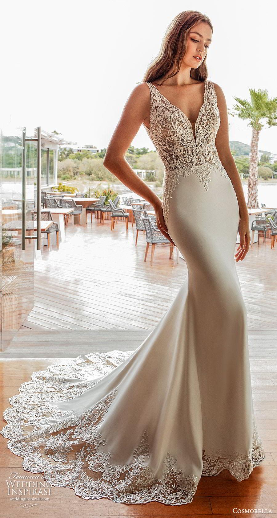 cosmobella 2020 bridal sleeveless beaded thick straps embellished bodice sheath wedding dress (16) elegant glamorous low back chapel train mv