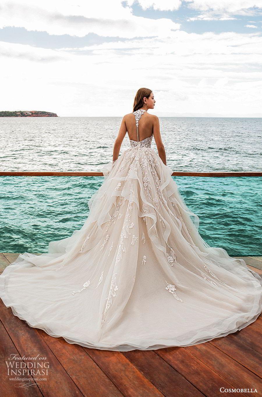 cosmobella 2020 bridal sleeveless halter strap sweetheart neckline embellished bodice ball gown wedding dress (10) romantic princess chapel train bv