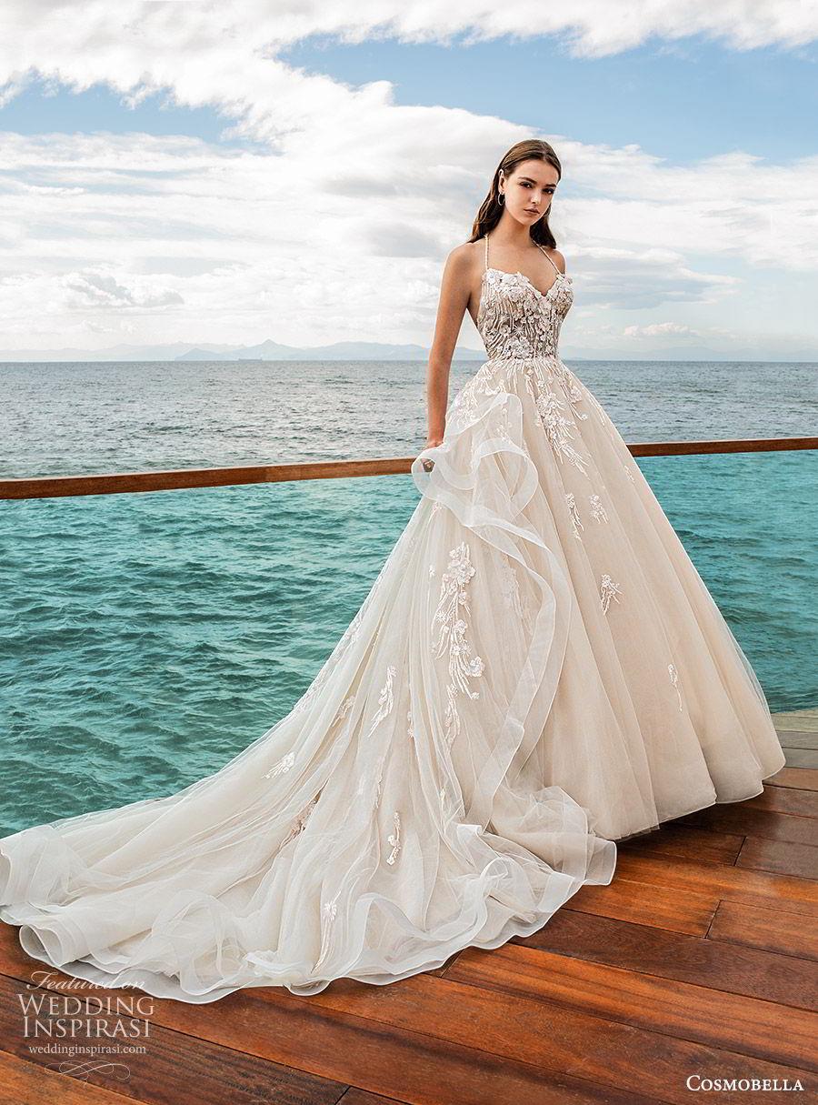 cosmobella 2020 bridal sleeveless halter strap sweetheart neckline embellished bodice ball gown wedding dress (10) romantic princess chapel train mv