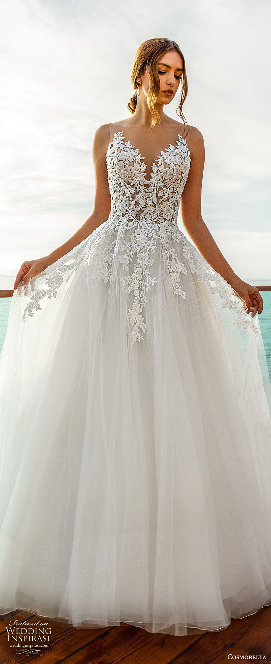cosmobella 2020 bridal sleeveless illusion bateau neckline sweetheart embellished bodice a line ball gown wedding dress (15) romantic princess chapel train mv
