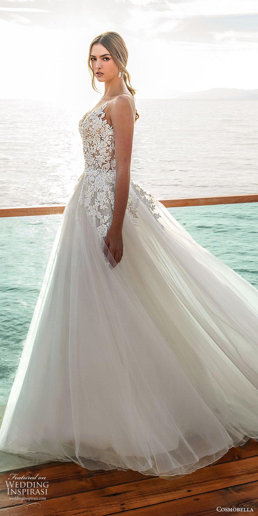 cosmobella 2020 bridal sleeveless illusion bateau neckline sweetheart embellished bodice a line ball gown wedding dress (15) romantic princess chapel train sv