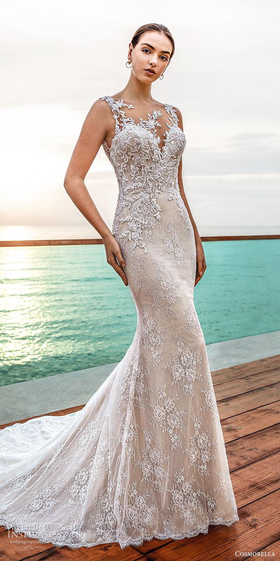 cosmobella 2020 bridal sleeveless illusion bateau neckline sweetheart fully embellished lace sheath wedding dress (7) elegant romantic low back chapel train mv