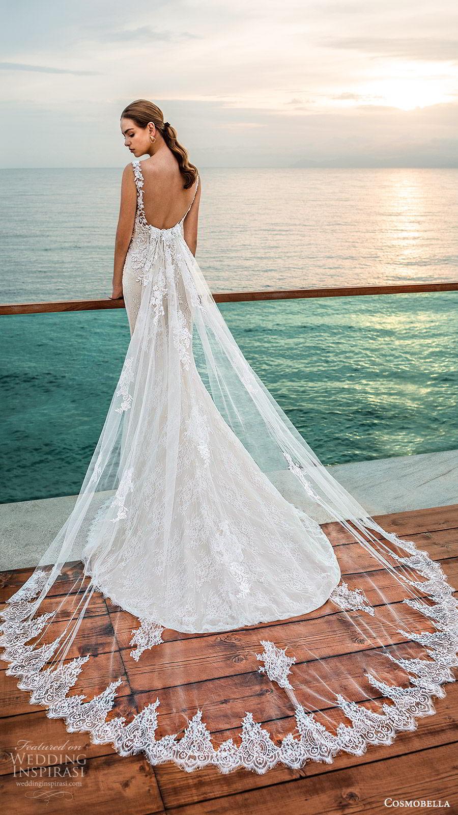 cosmobella 2020 bridal sleeveless illusion bateau neckline sweetheart fully embellished lace sheath wedding dress (7) elegant romantic low back watteau chapel train bv