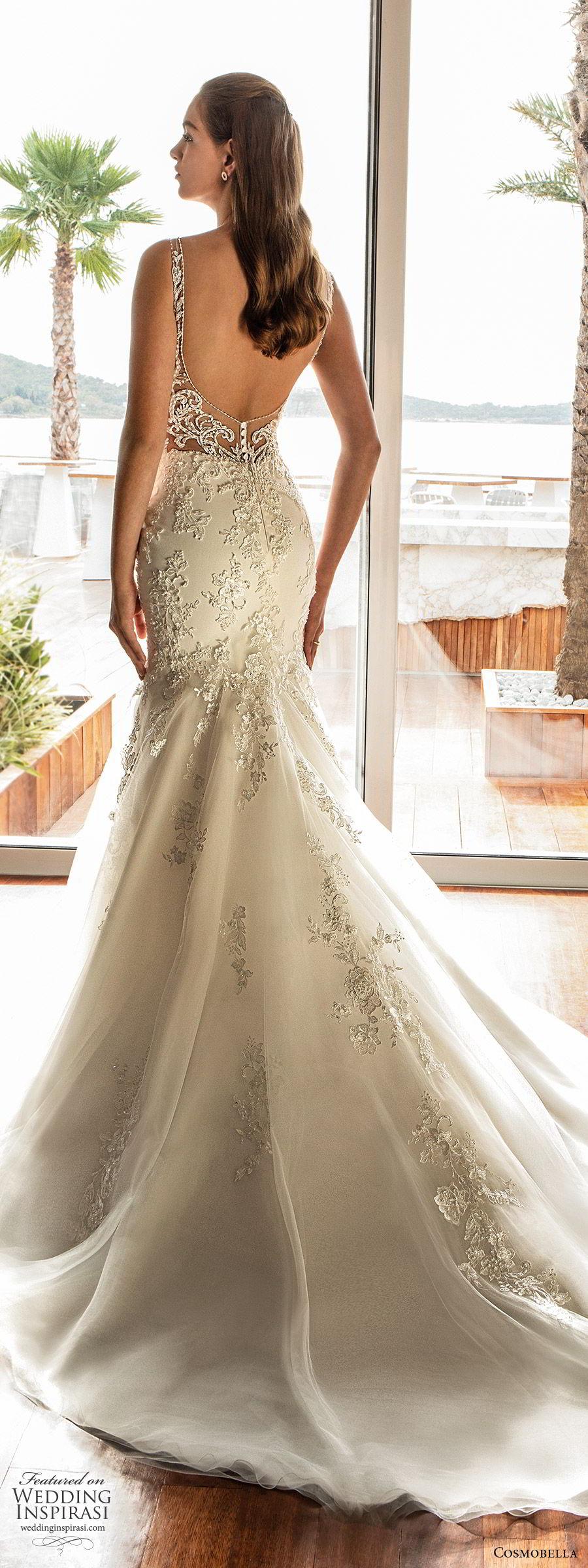 cosmobella 2020 bridal sleeveless illusion straps v neckline fully embellished fit flare mermaid wedding dress (18) glitzy glam low illusion back chapel train bv