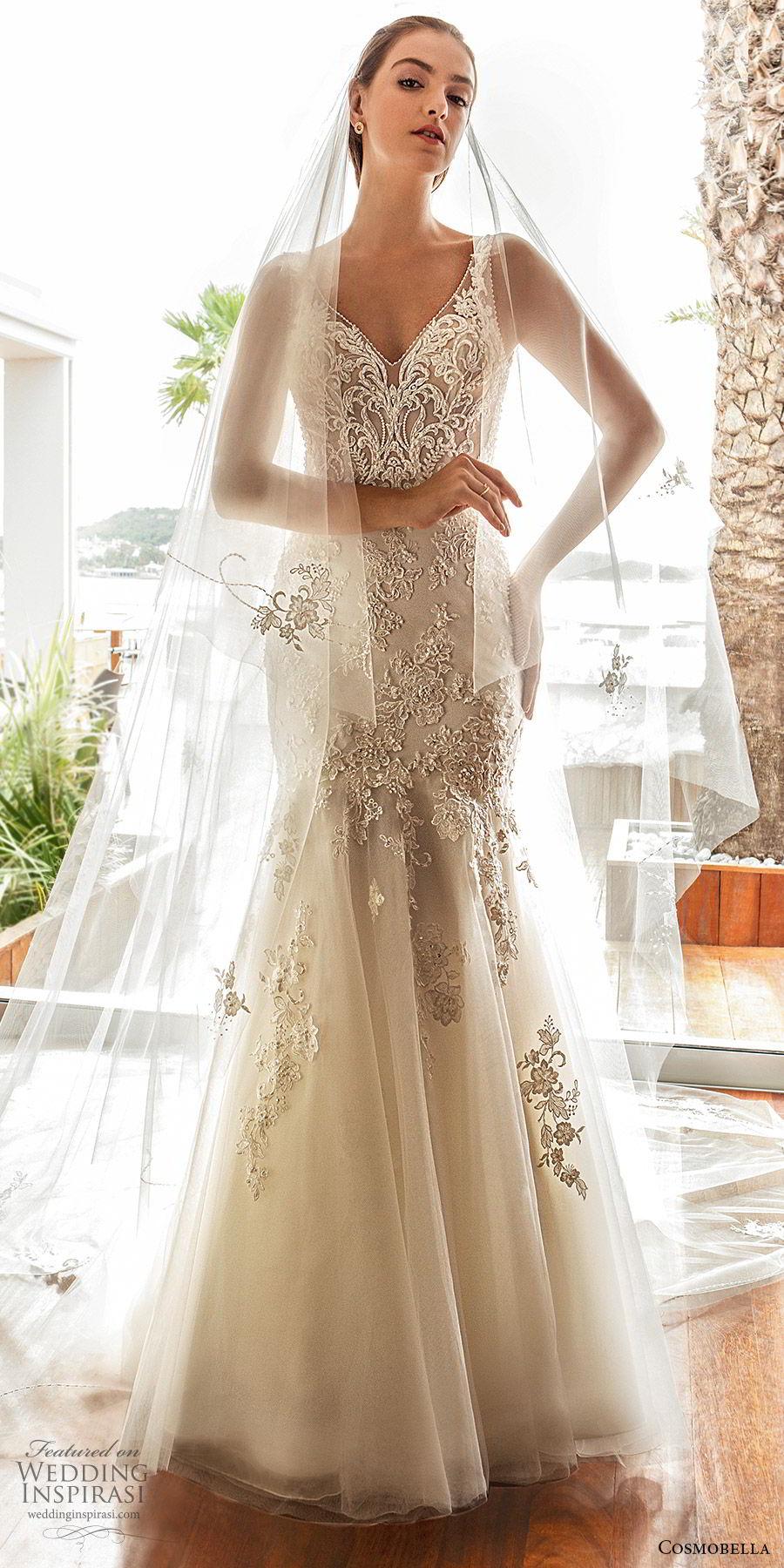 cosmobella 2020 bridal sleeveless illusion straps v neckline fully embellished fit flare mermaid wedding dress (18) glitzy glam low illusion back chapel train mv