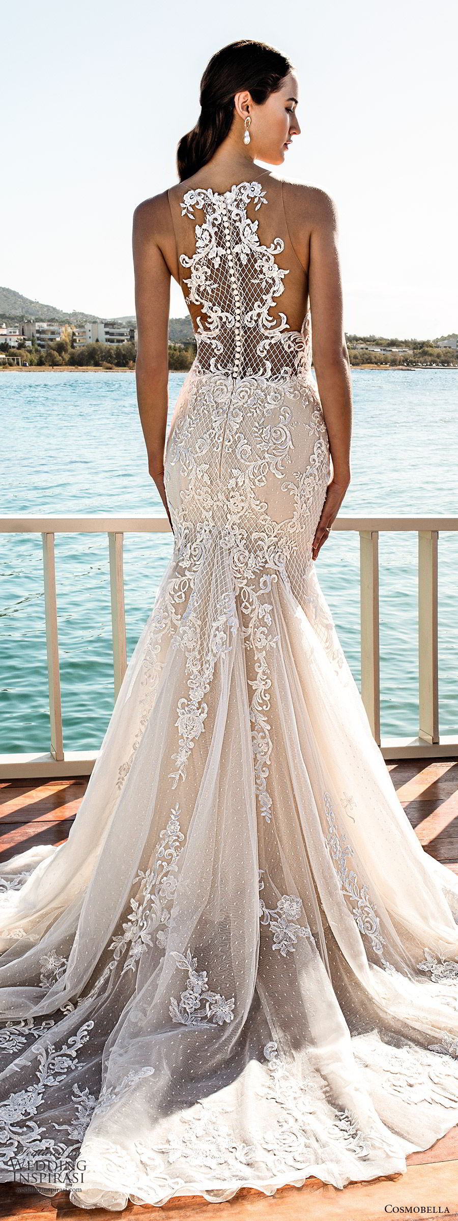 cosmobella 2020 bridal sleeveless illusion straps v neckline fully embellished sheath mermaid lace wedding dress (19) glam glitzy elegant illusion back chapel train bv