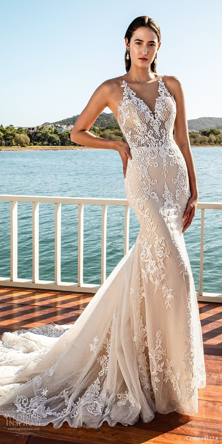 cosmobella 2020 bridal sleeveless illusion straps v neckline fully embellished sheath mermaid lace wedding dress (19) glam glitzy elegant illusion back chapel train mv