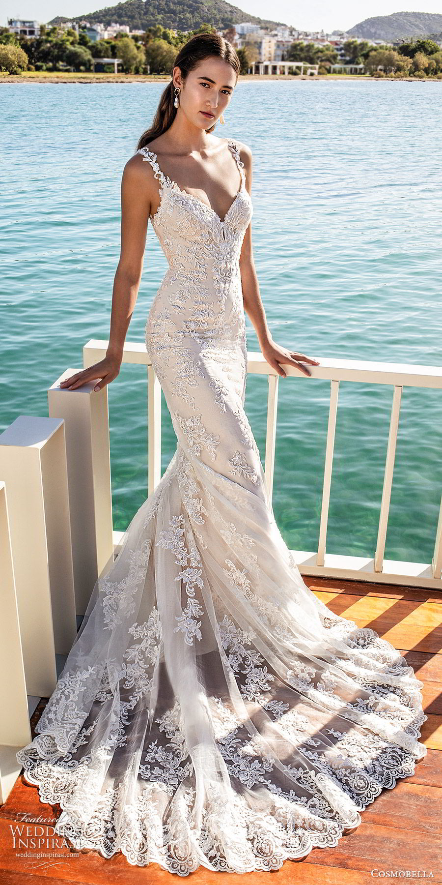 cosmobella 2020 bridal sleeveless lace straps sweetheart neckline fully embellished lace sheath wedding dress (8) elegant romantic chapel train mv