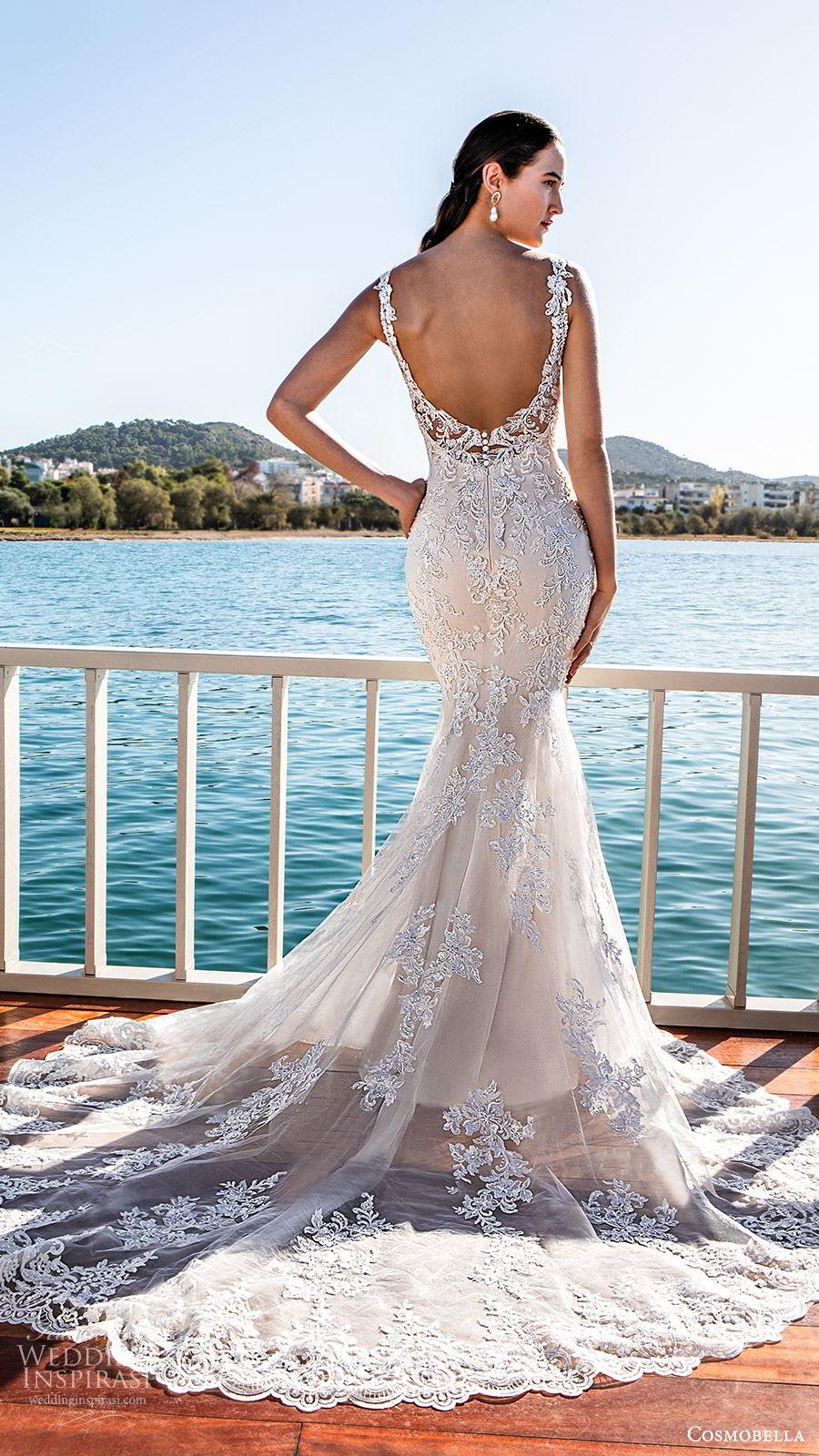 cosmobella 2020 bridal sleeveless lace straps sweetheart neckline fully embellished lace sheath wedding dress (8) elegant romantic low back chapel train bv