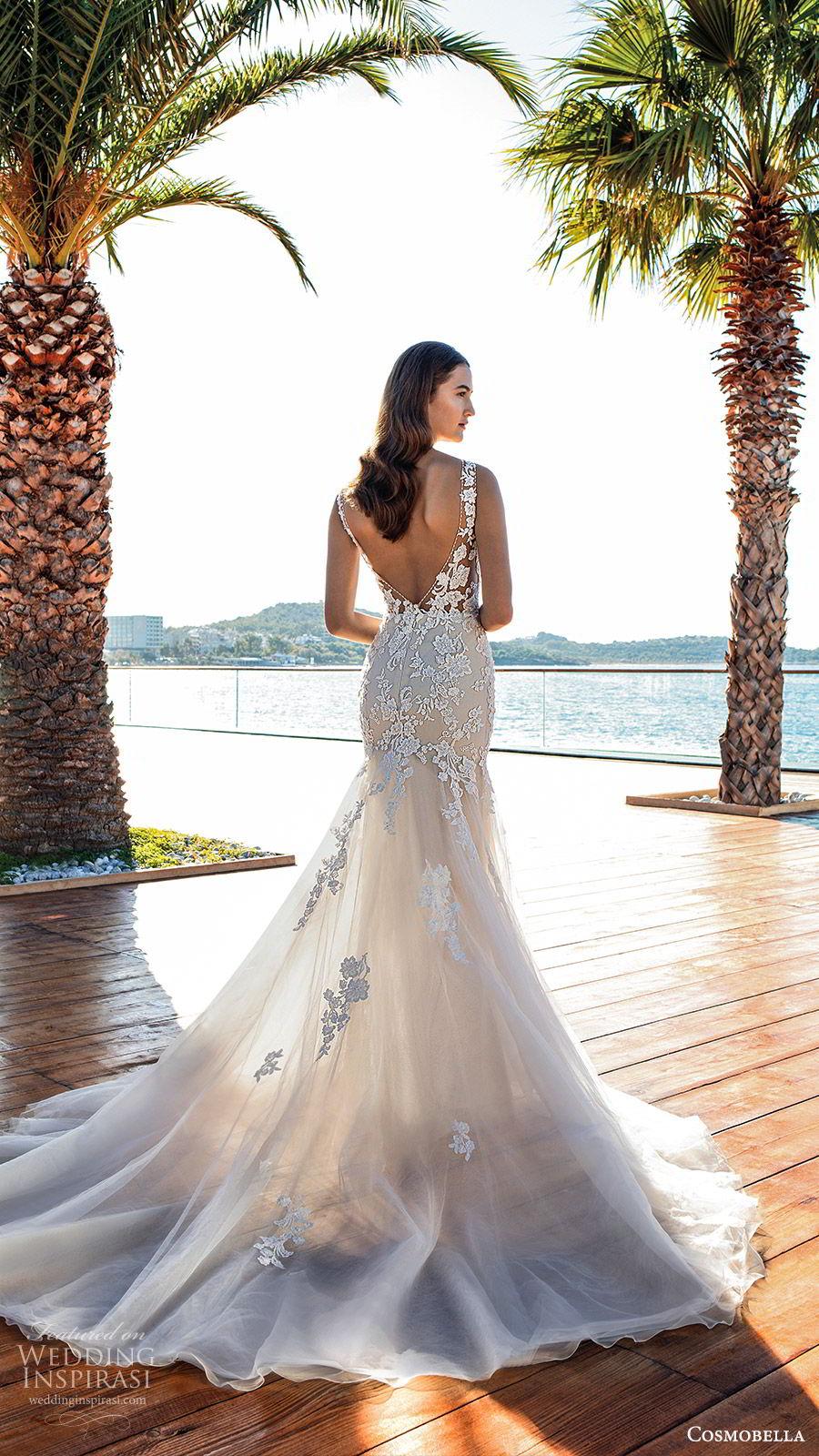cosmobella 2020 bridal sleeveless sheer straps v neckline fully embellished lace trumpet fit flare wedding dress (5) romantic elegant low back chapel train bv