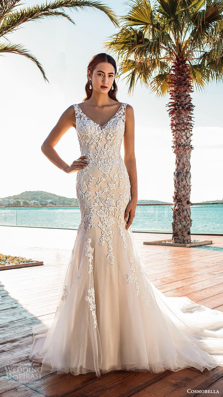 cosmobella 2020 bridal sleeveless sheer straps v neckline fully embellished lace trumpet fit flare wedding dress (5) romantic elegant low back chapel train mv