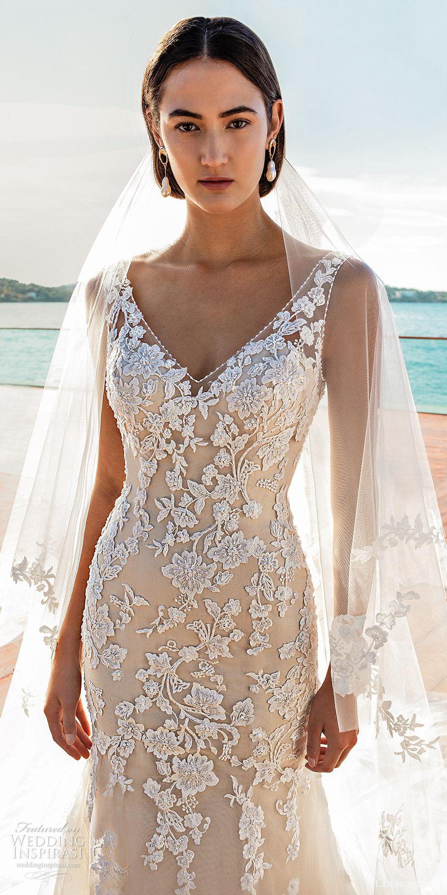cosmobella 2020 bridal sleeveless sheer straps v neckline fully embellished lace trumpet fit flare wedding dress (5) romantic elegant low back chapel train zv