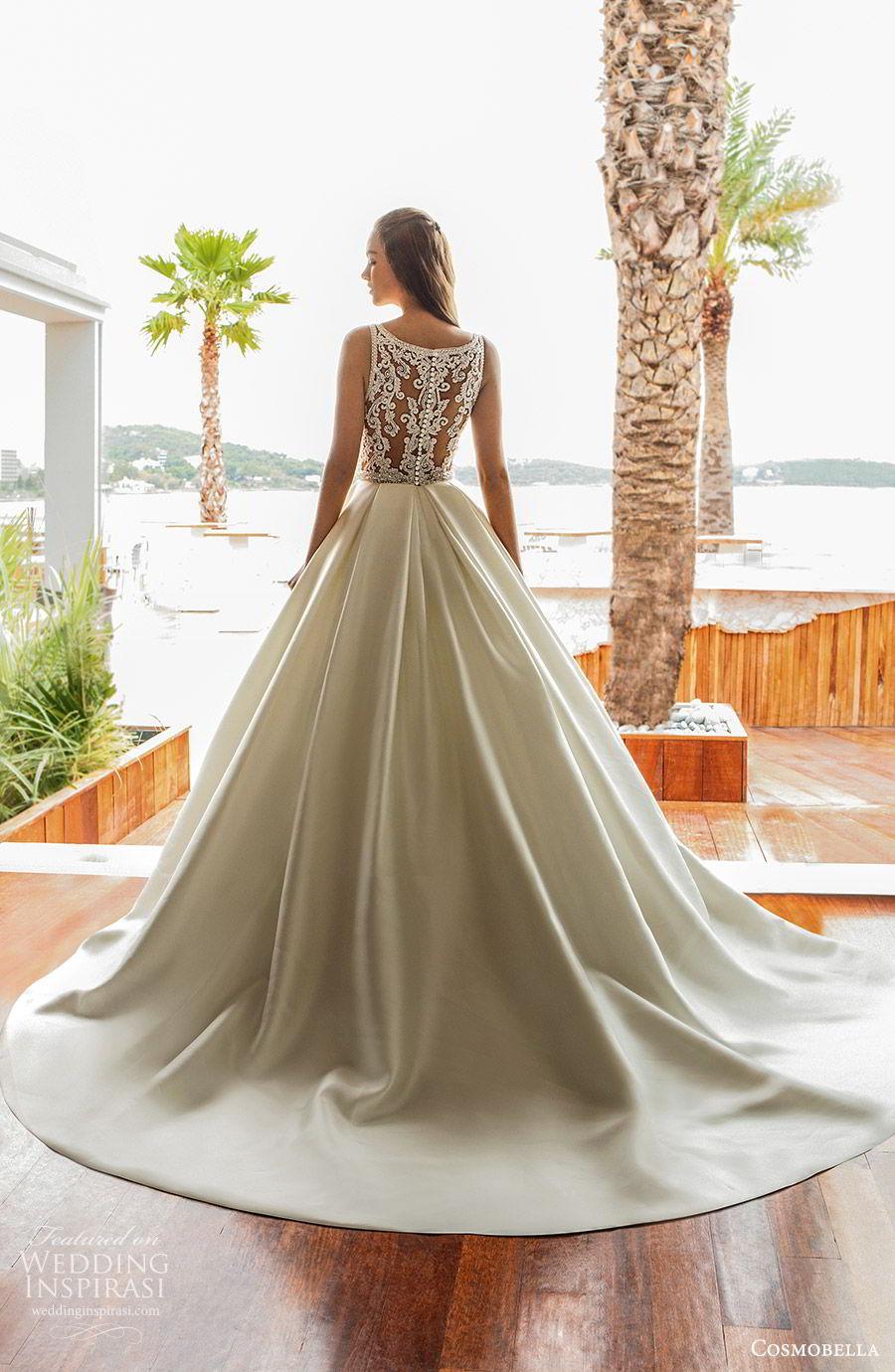 cosmobella 2020 bridal sleeveless thick straps deep v neckline split sweetheart a line ball gown wedding dress (17) princess romantic sheer lace back chapel train bv