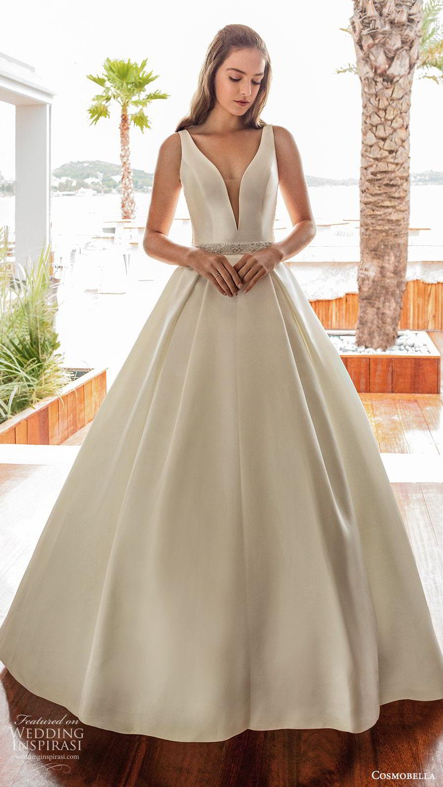 cosmobella 2020 bridal sleeveless thick straps deep v neckline split sweetheart a line ball gown wedding dress (17) princess romantic sheer lace back chapel train mv