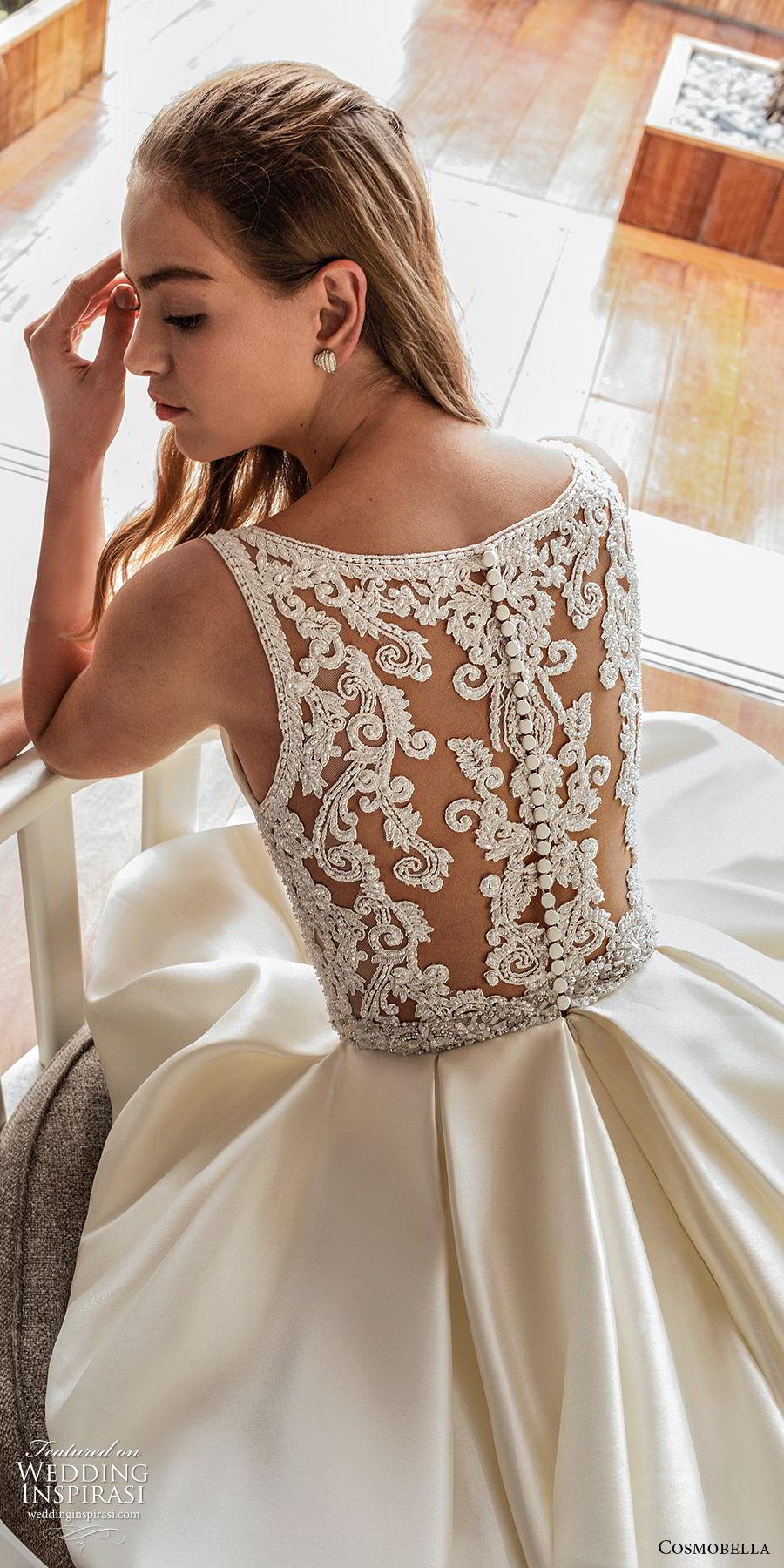 cosmobella 2020 bridal sleeveless thick straps deep v neckline split sweetheart a line ball gown wedding dress (17) princess romantic sheer lace back chapel train zbv
