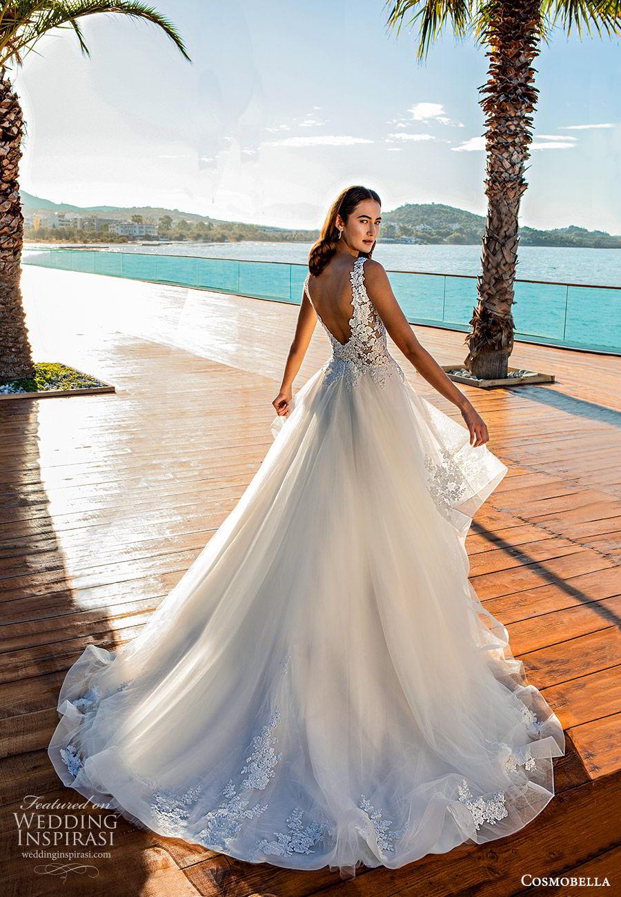 cosmobella 2020 bridal sleeveless thick straps lace bodice a line ball gown wedding dress (9) romantic princess low back chapel train bv