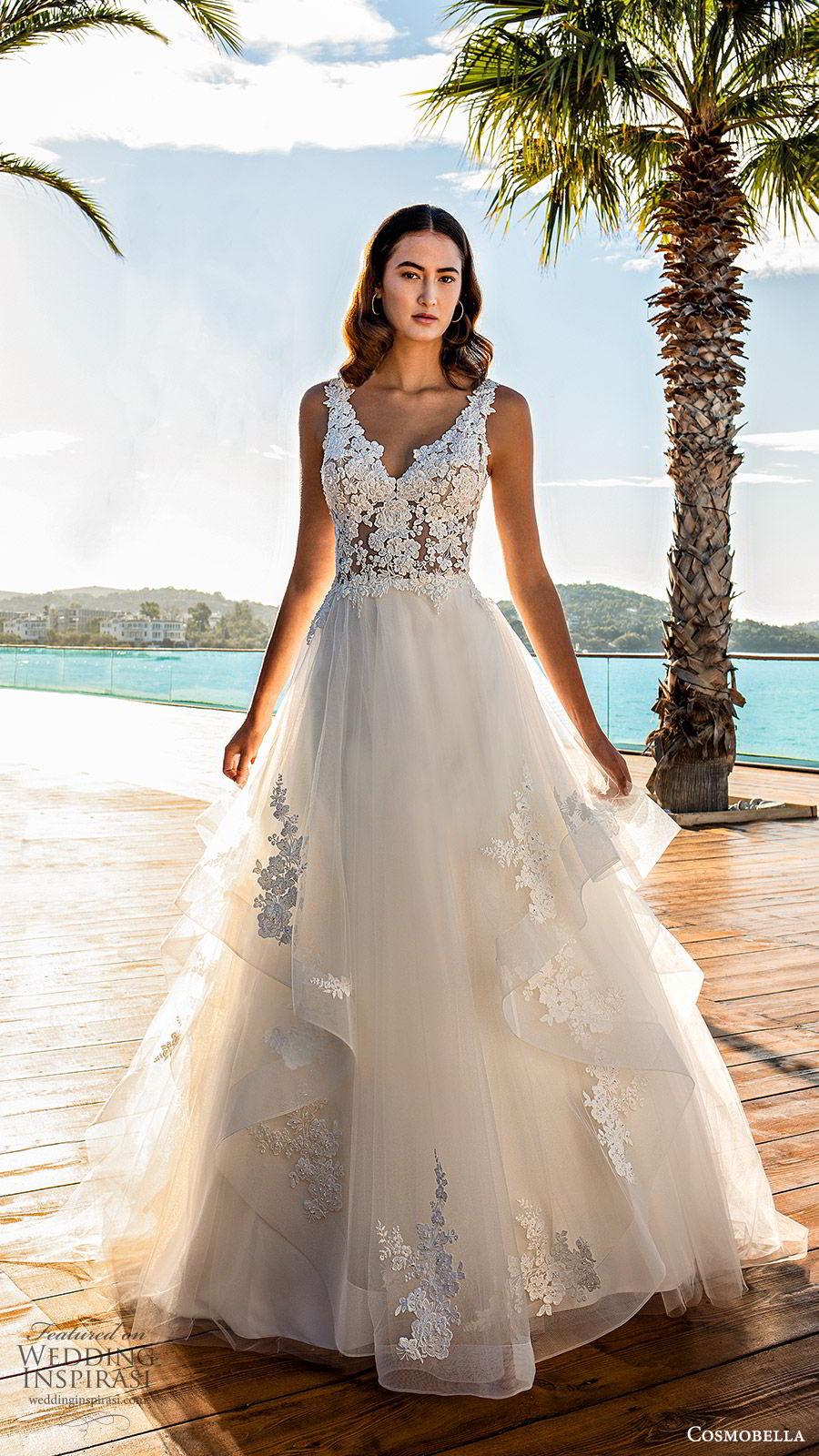cosmobella 2020 bridal sleeveless thick straps lace bodice a line ball gown wedding dress (9) romantic princess low back chapel train mv