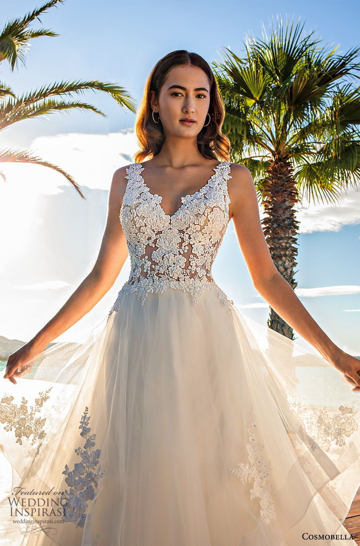 cosmobella 2020 bridal sleeveless thick straps lace bodice a line ball gown wedding dress (9) romantic princess low back chapel train zv