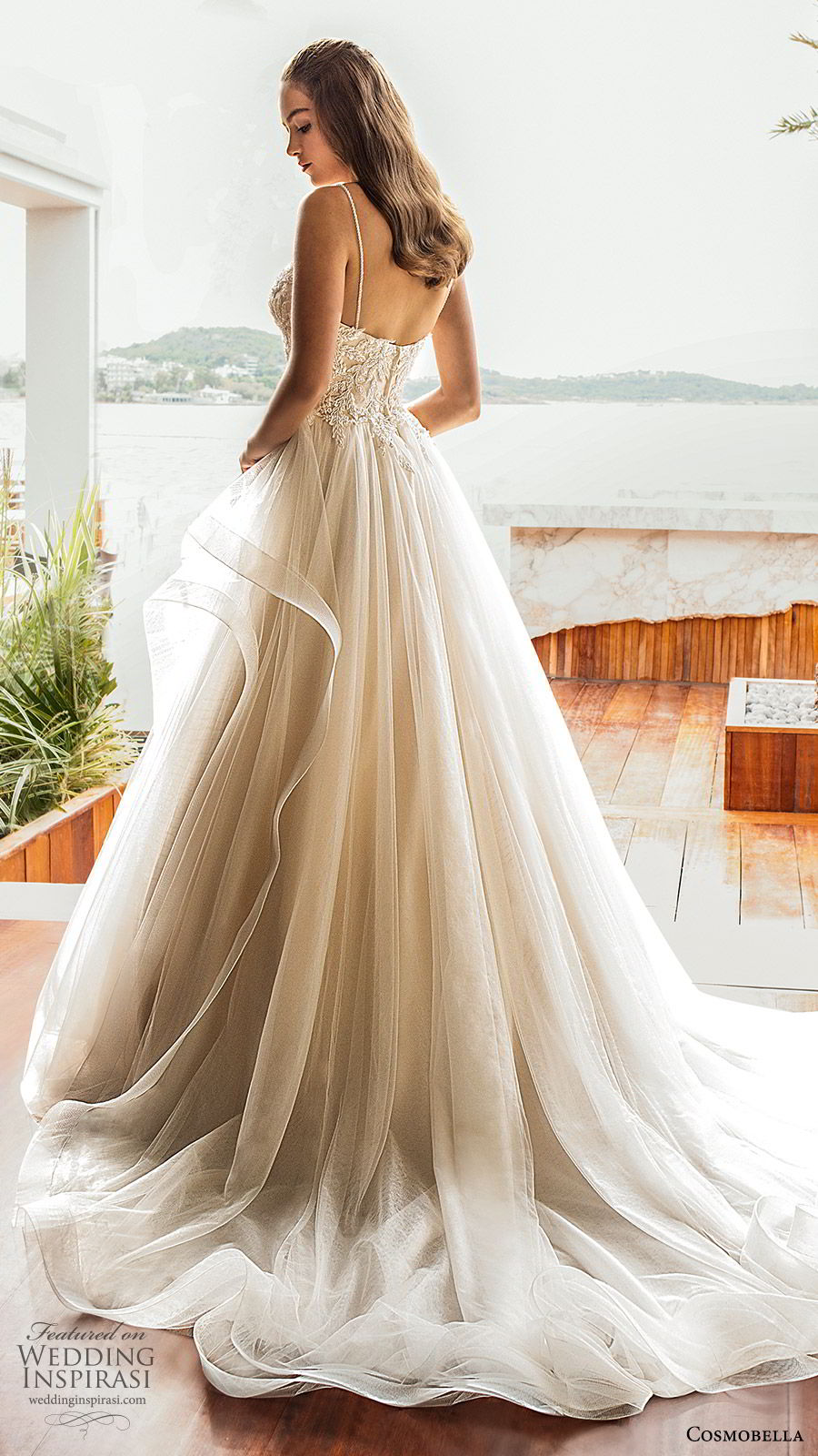 cosmobella 2020 bridal sleeveless thin straps embellished bodice a line ball gown wedding dress (14) romantic princess tiered skirt chepel train bv
