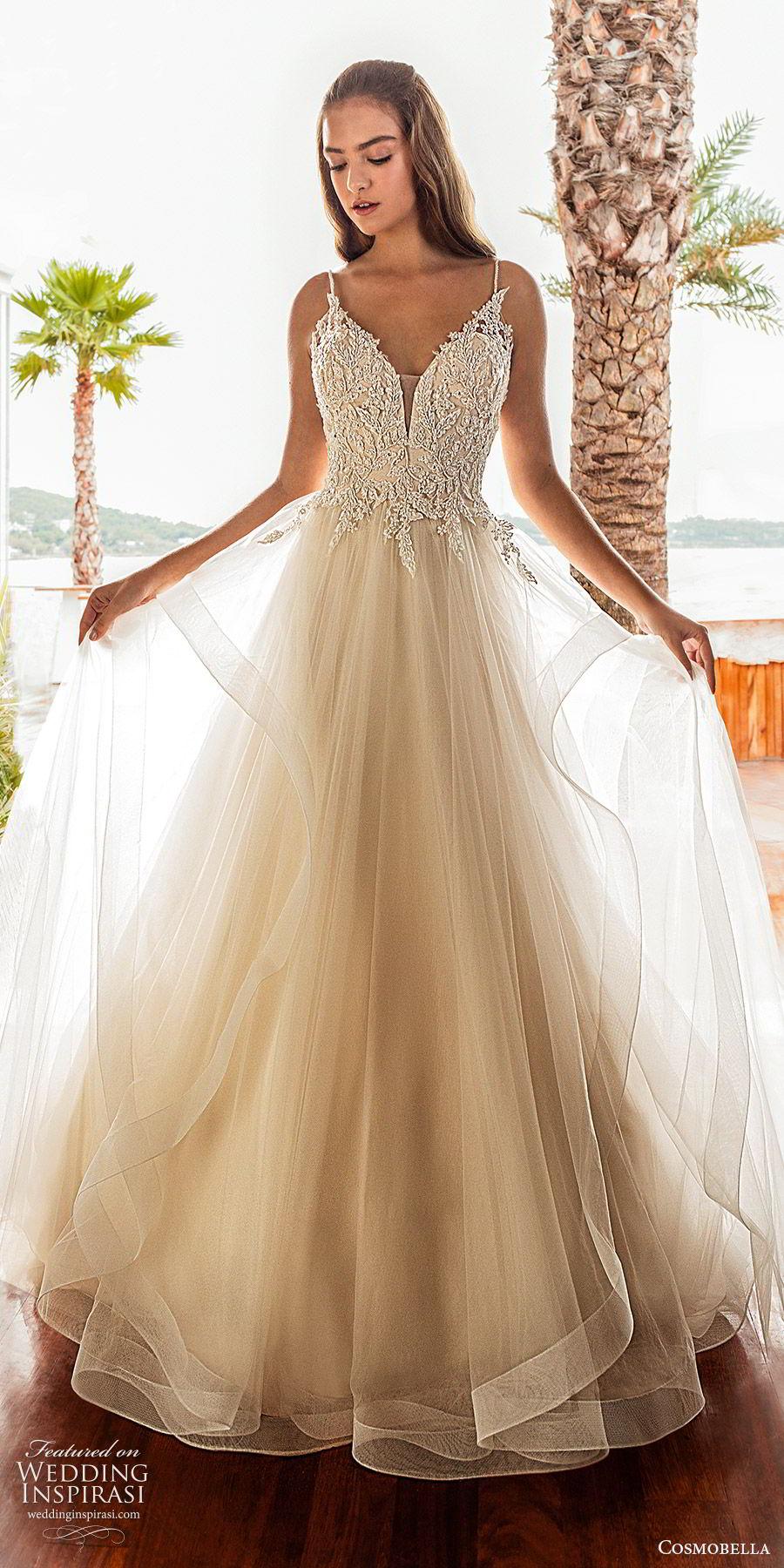 cosmobella 2020 bridal sleeveless thin straps embellished bodice a line ball gown wedding dress (14) romantic princess tiered skirt chepel train mv