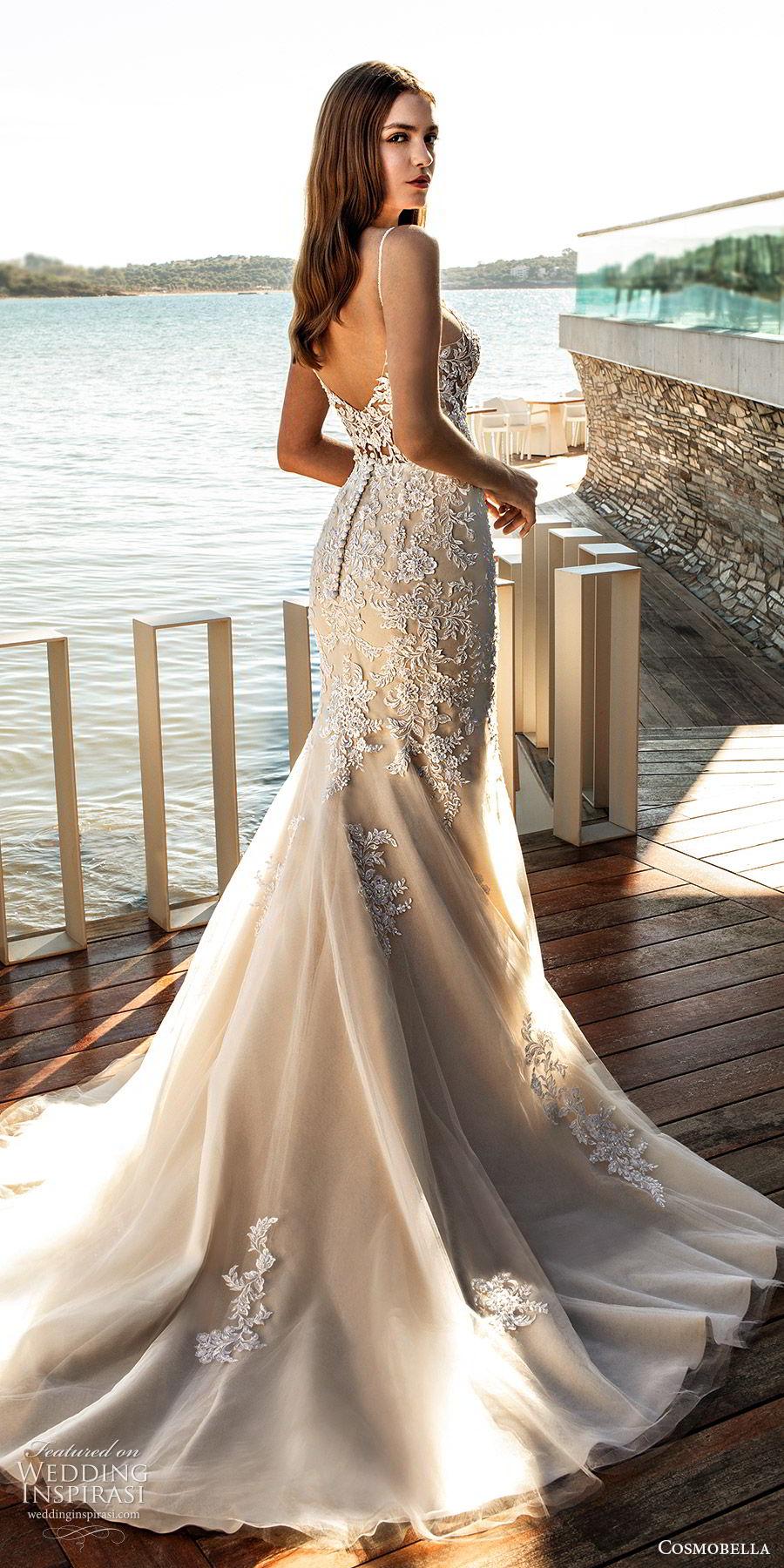 cosmobella 2020 bridal sleeveless thin straps sweetheart sheer bodice fully embellished lace trumpet fit flare wedding dress (4) champagne elegant romantic chapel train bv