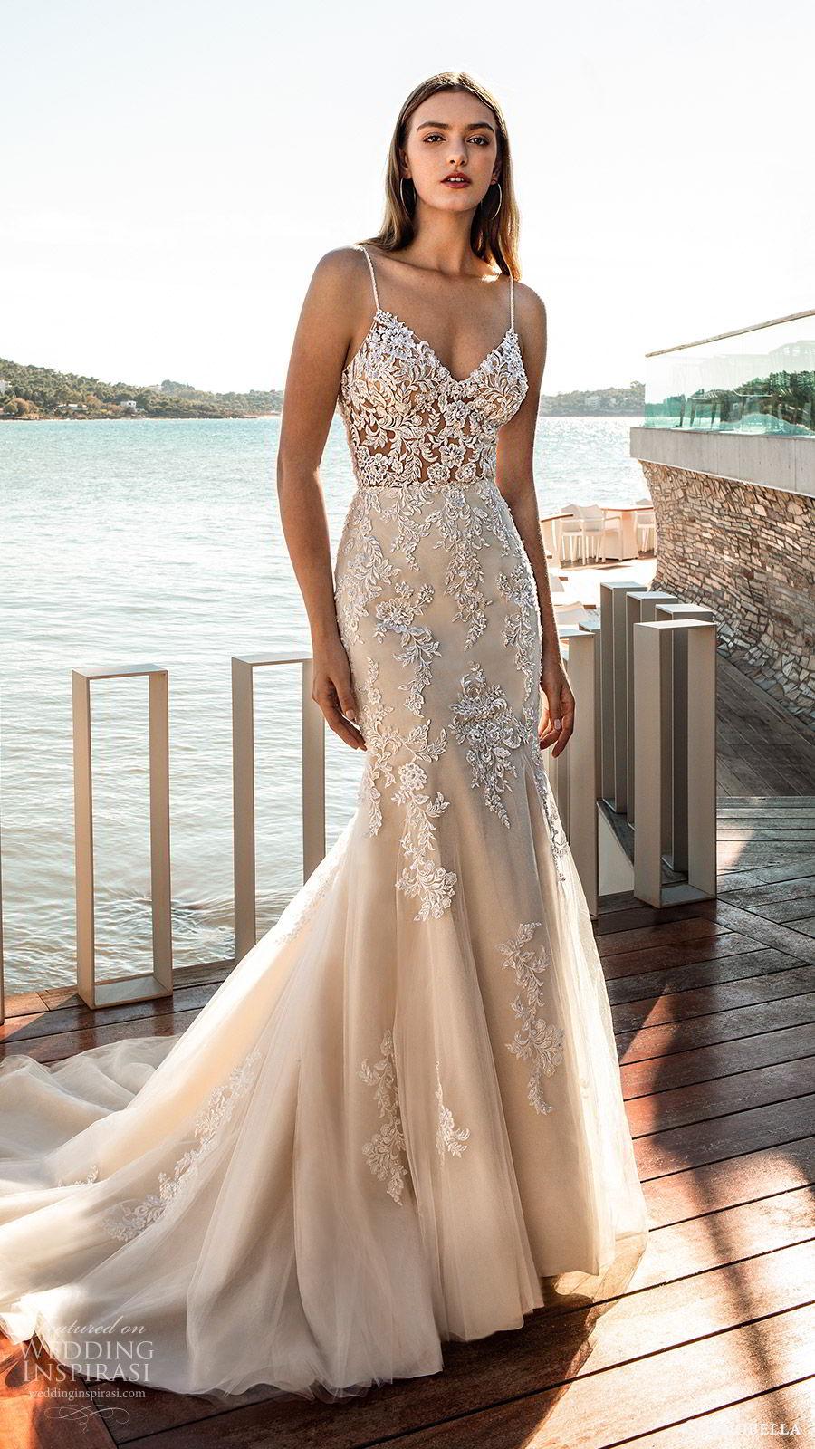 cosmobella 2020 bridal sleeveless thin straps sweetheart sheer bodice fully embellished lace trumpet fit flare wedding dress (4) champagne elegant romantic chapel train mv