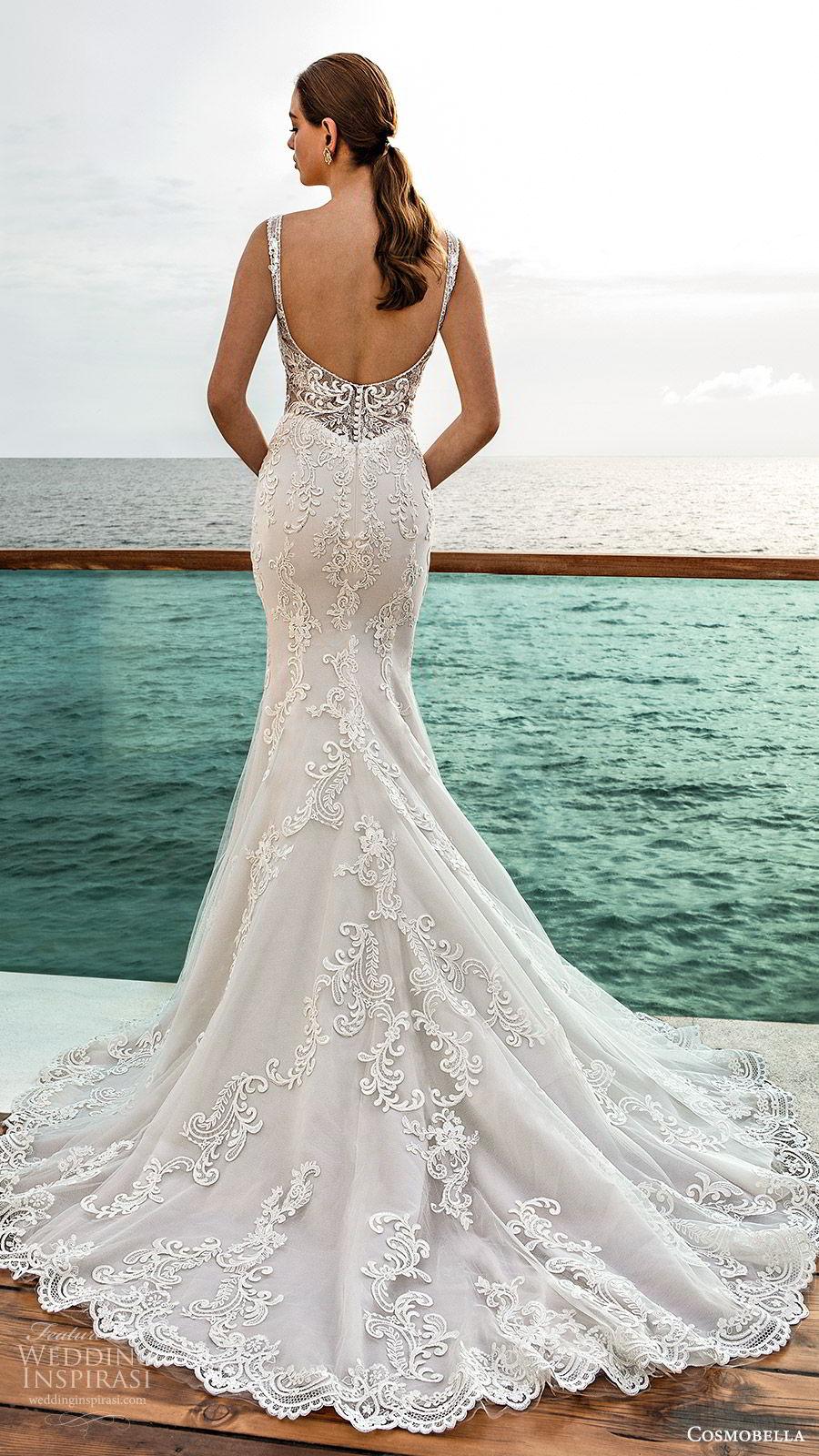 cosmobella 2020 bridal sleeveless v neckline fully embellished lace mermaid sheath wedding dress (3) low illusion back elegant glam chapel train bv
