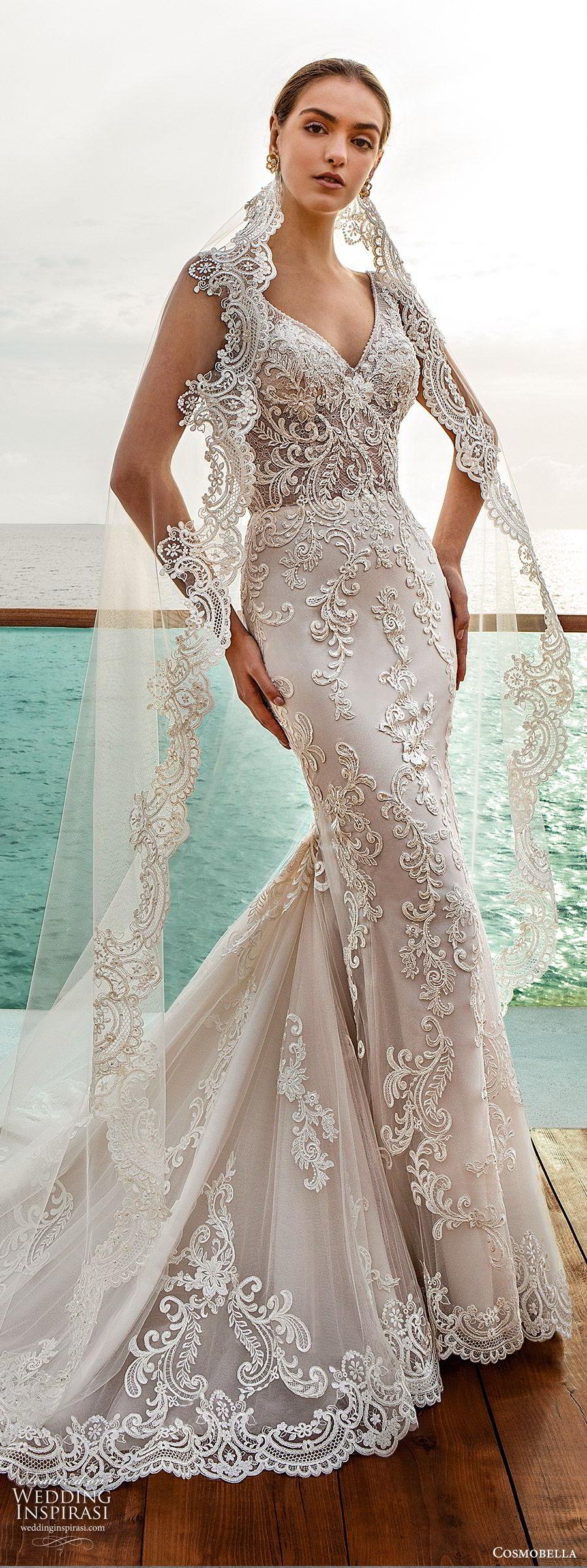 cosmobella 2020 bridal sleeveless v neckline fully embellished lace mermaid sheath wedding dress (3) low illusion back elegant glam chapel train mv