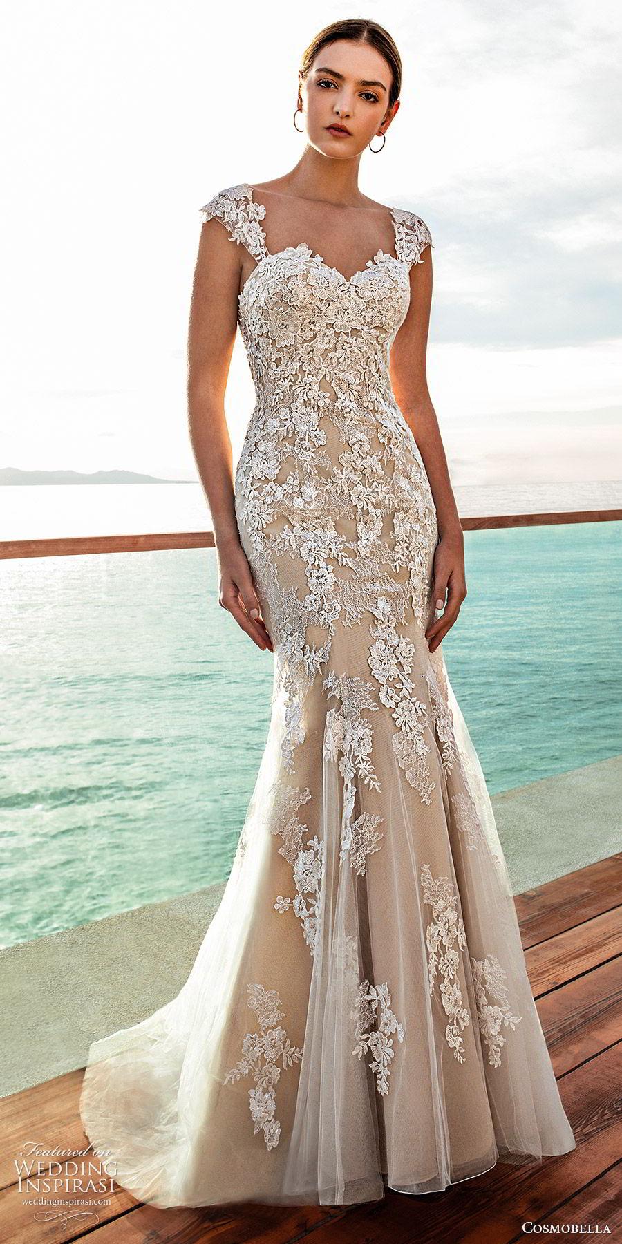 cosmobella 2020 bridal strapless sweetheart cap sleeves fully embellished lace tumpet fit flare sheath wedding dress (11) elegant modern chapel train mv