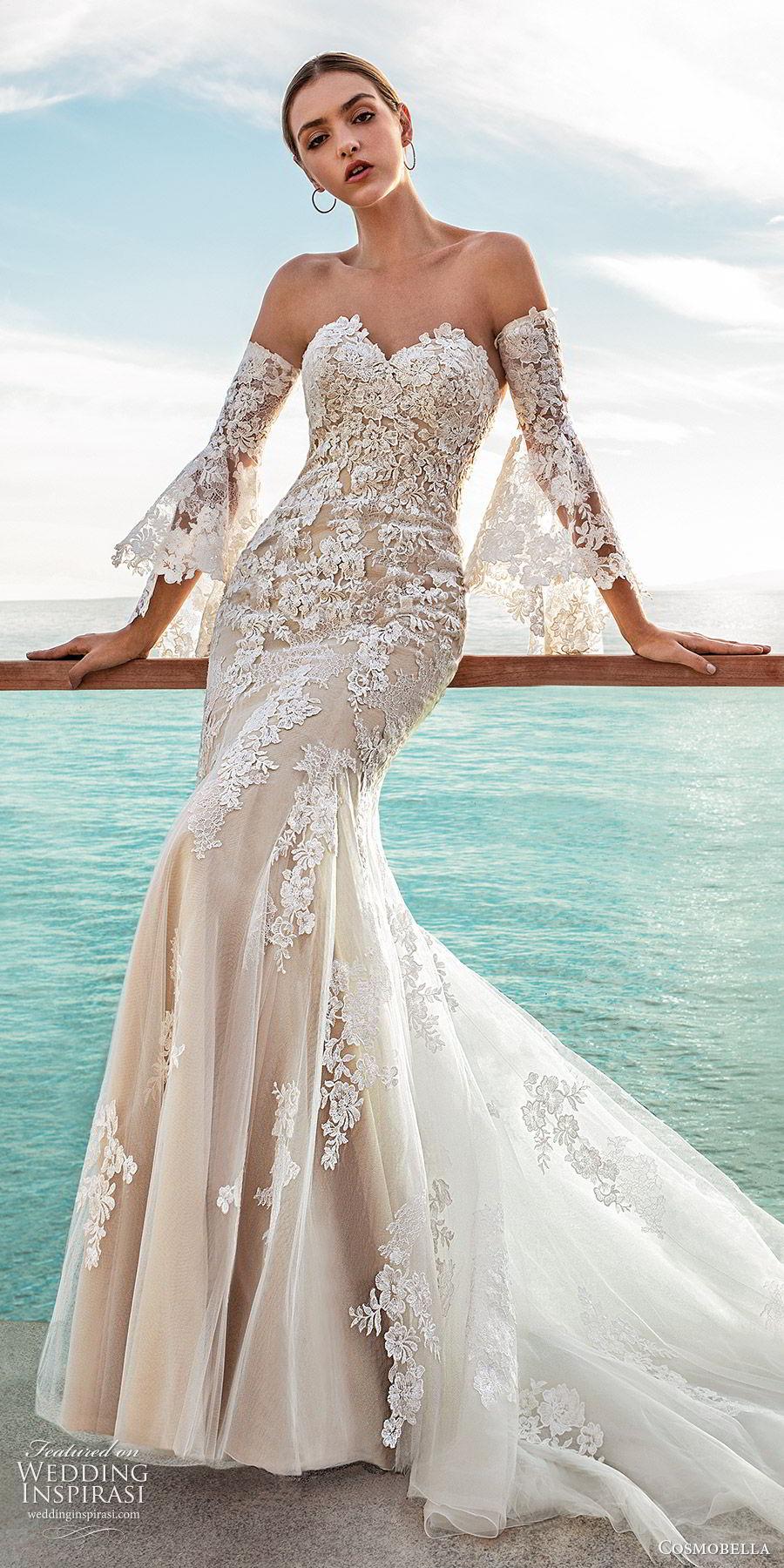 cosmobella 2020 bridal strapless sweetheart detached bell sleeves fully embellished lace tumpet fit flare sheath wedding dress (11) elegant modern chapel train mv
