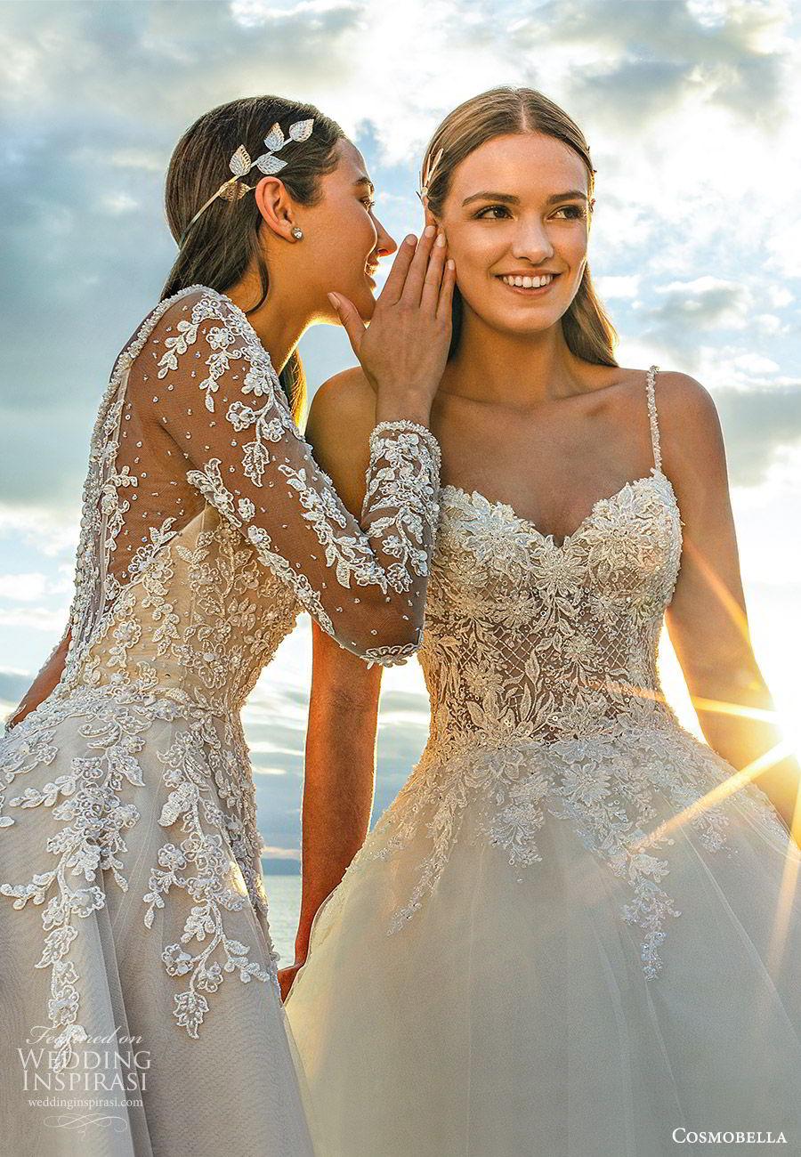 cosmobella 2020 bridal strapless sweetheart illusion long sleeve lace ball gown wedding dresses princess romantic (21) fv