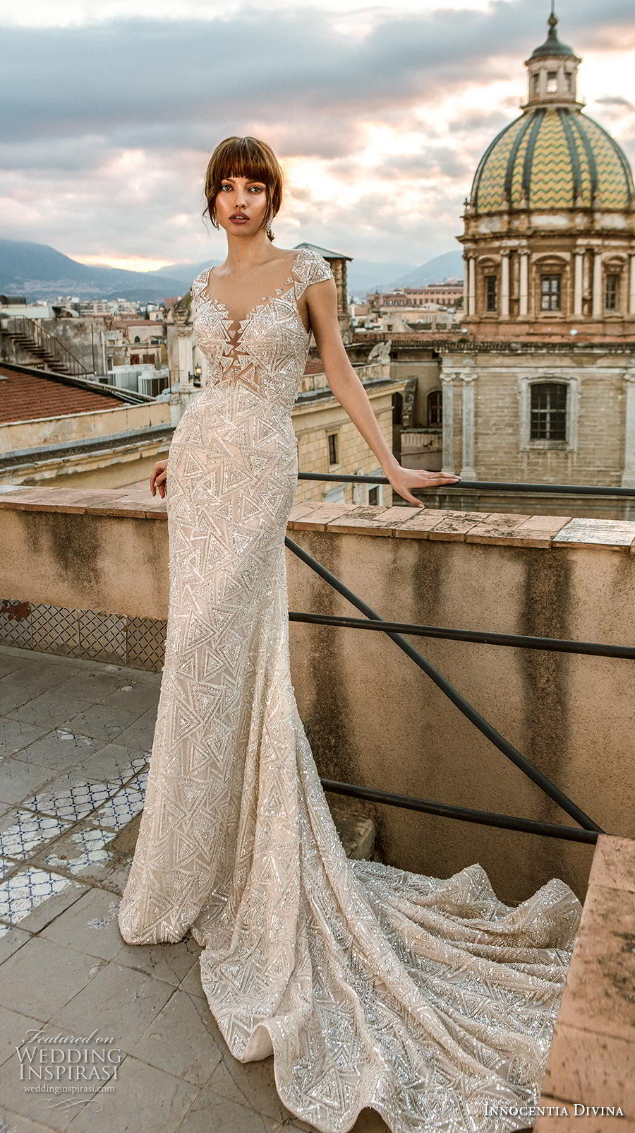 innocentia divina 2020 bridal cap sleeves diamond neck full embellishment glamorous sheath wedding dress keyhole back chapel train (3) mv