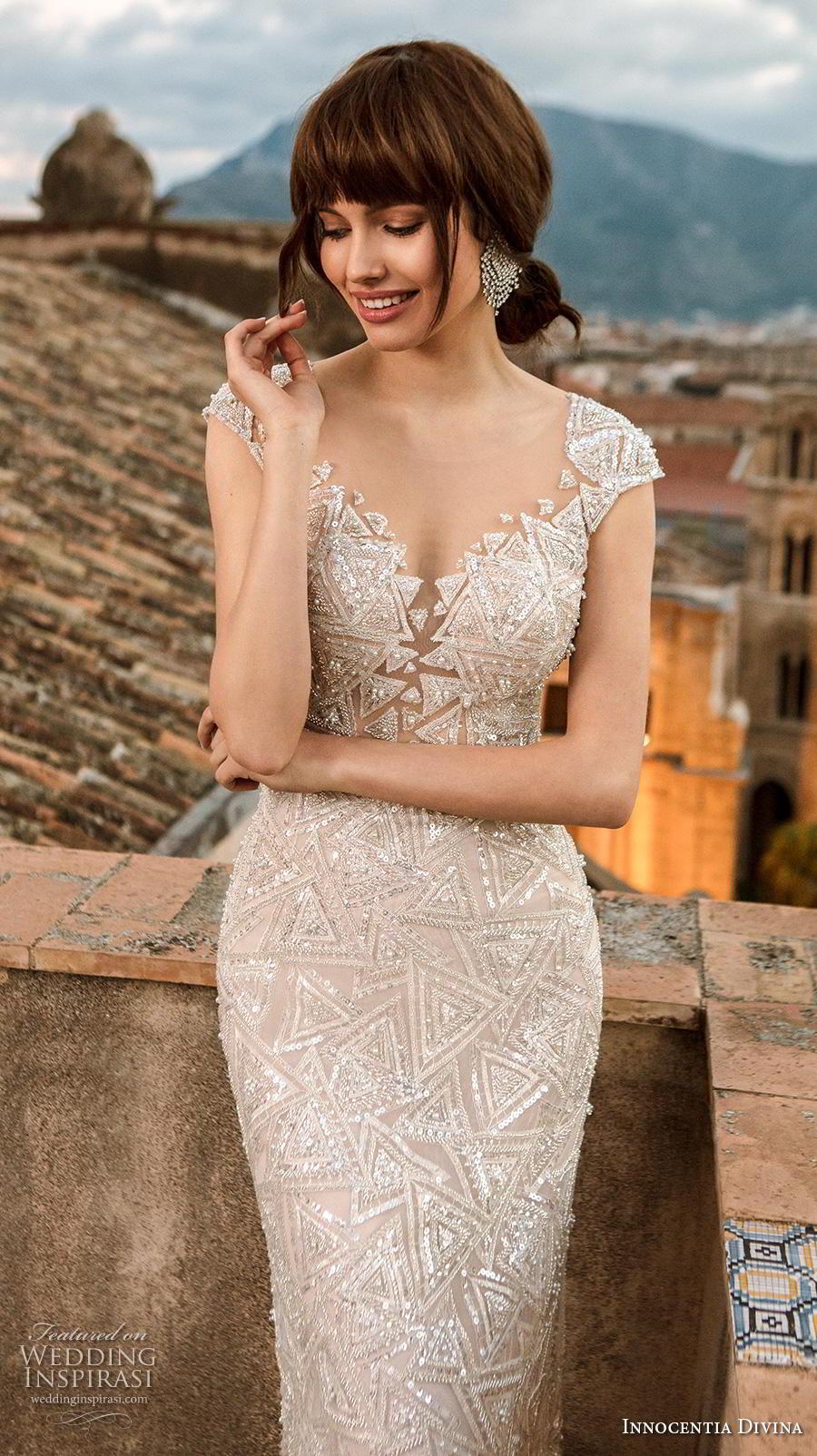 innocentia divina 2020 bridal cap sleeves diamond neck full embellishment glamorous sheath wedding dress keyhole back chapel train (3) zv